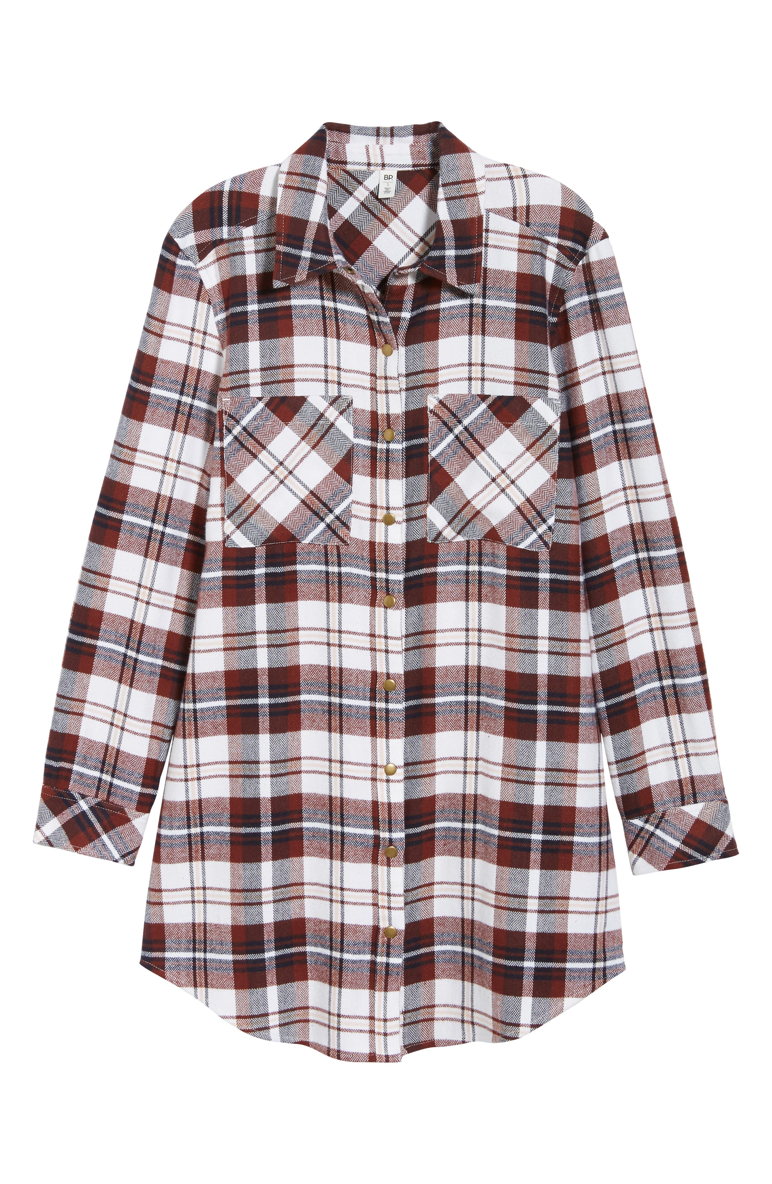 Plaid Flannel Tunic,                             Alternate thumbnail 6, color,                             IVORY CAMEL PLAID