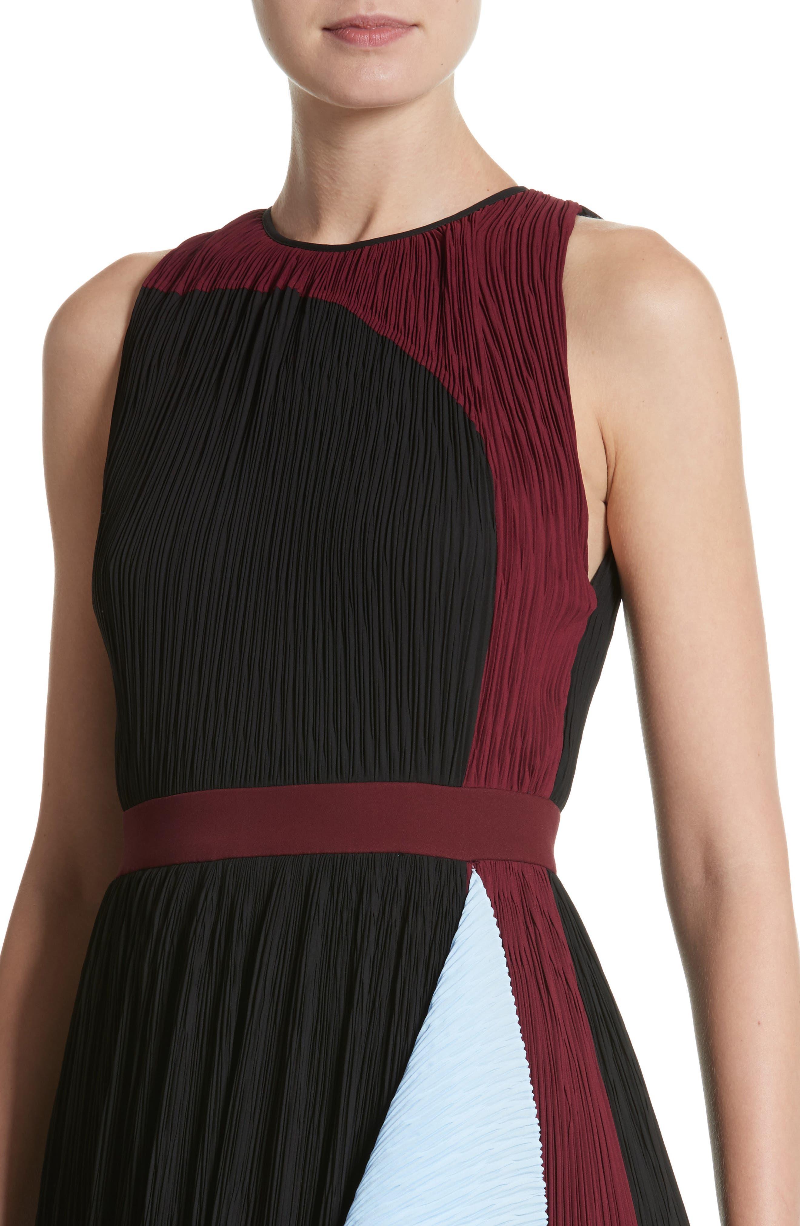 Milda Crystal Pleat Dress,                             Alternate thumbnail 4, color,                             010