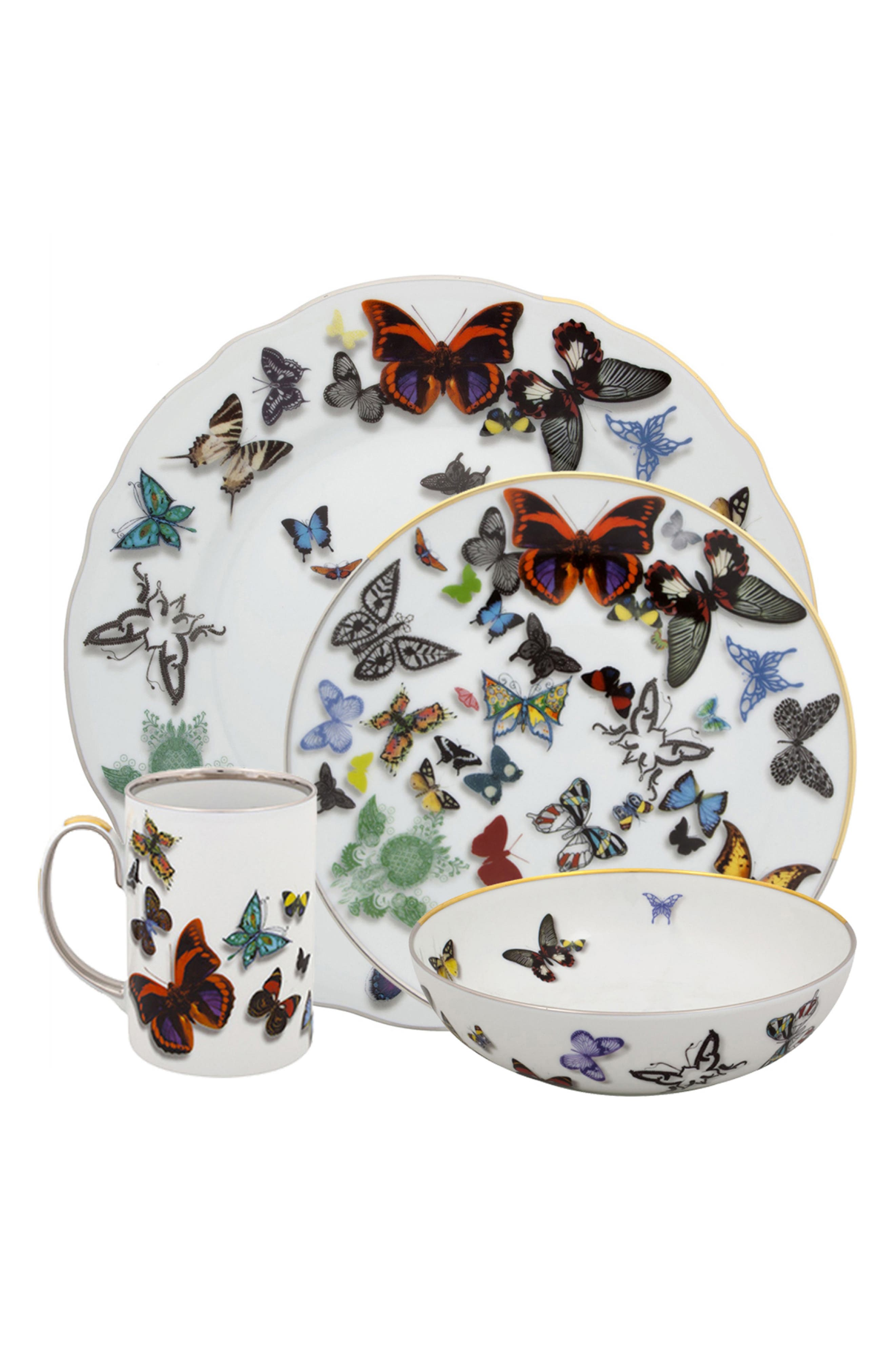Butterfly 4-Piece Place Setting,                             Main thumbnail 1, color,                             WHITE
