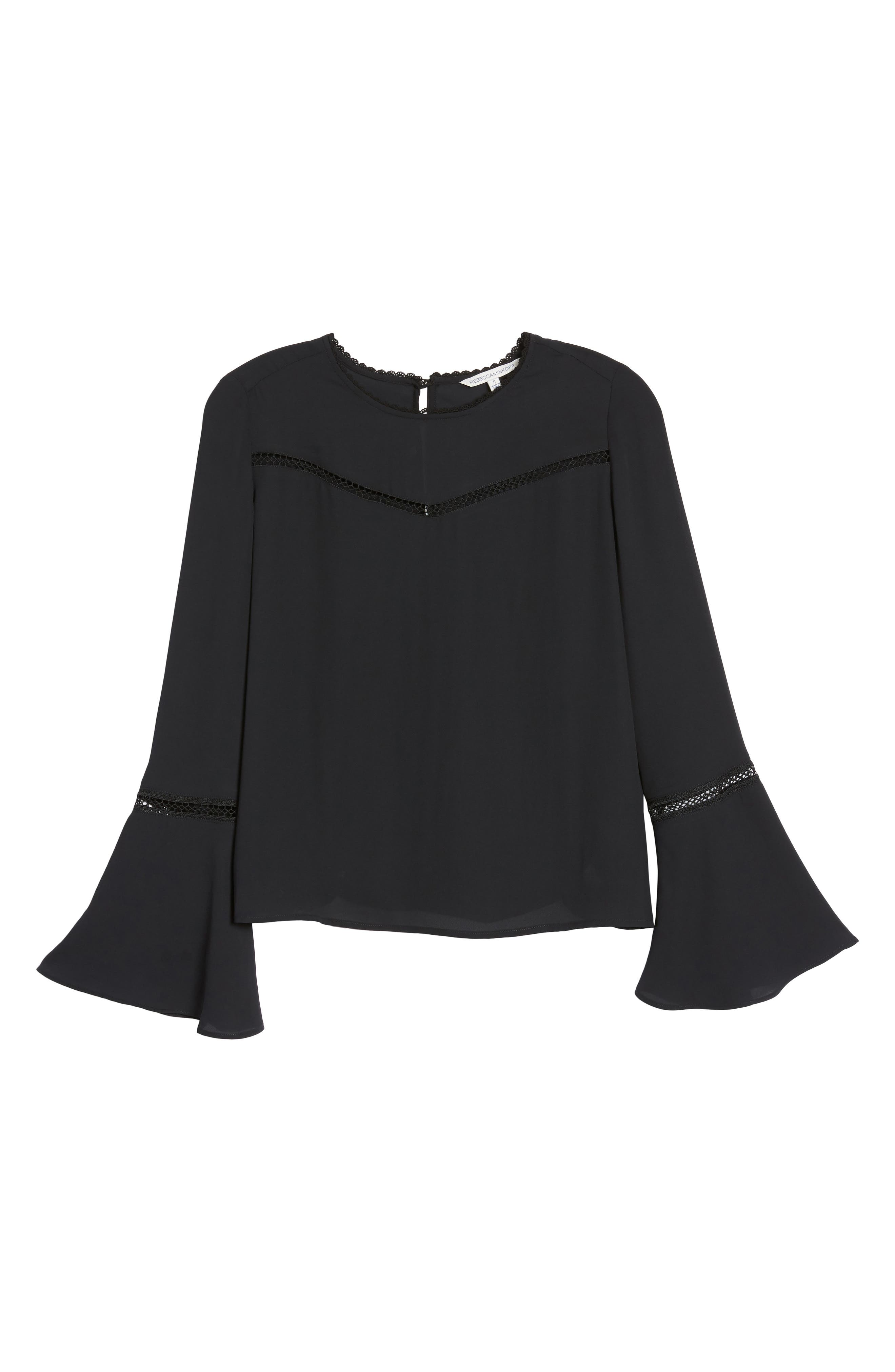 Chava Bell Sleeve Top,                             Alternate thumbnail 6, color,                             001