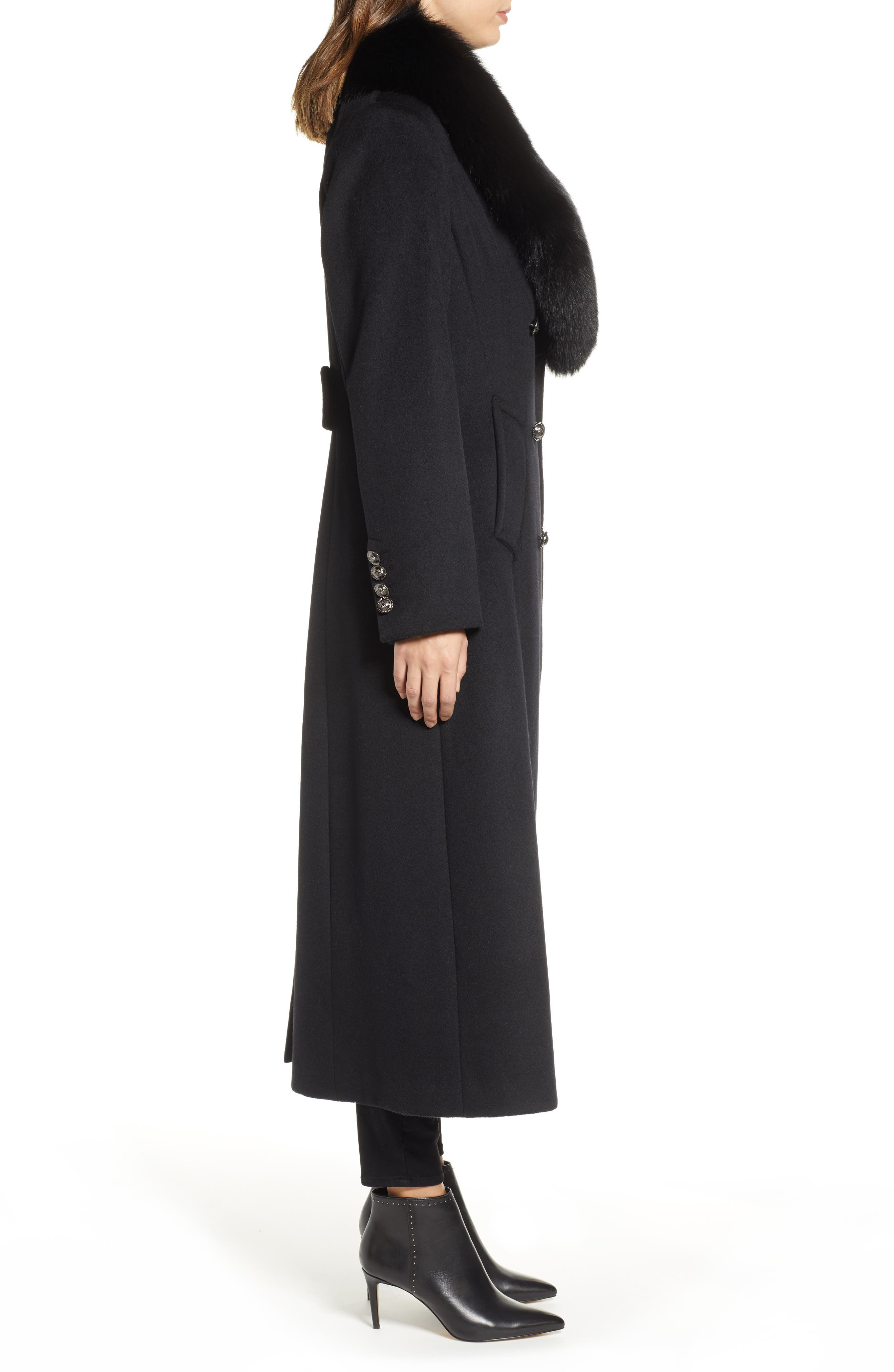 1 MADISON,                             Double Breasted Military Wool Coat with Genuine Fox Fur Shawl,                             Alternate thumbnail 3, color,                             BLACK