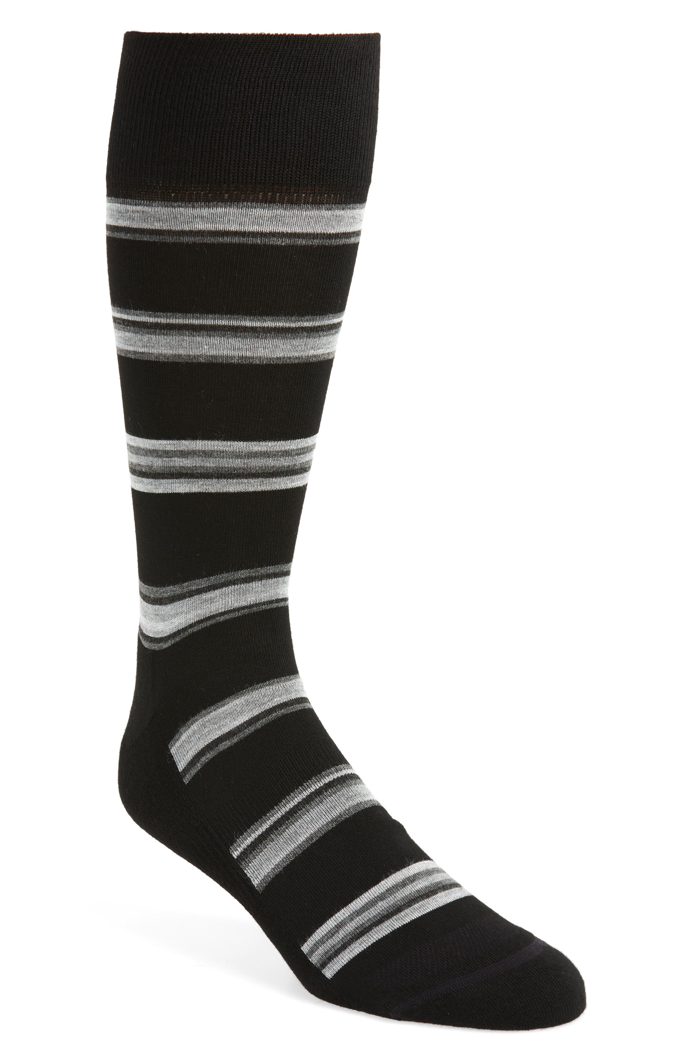 Alternating Rugby Stripe Socks,                             Main thumbnail 1, color,                             BLACK/ GREY