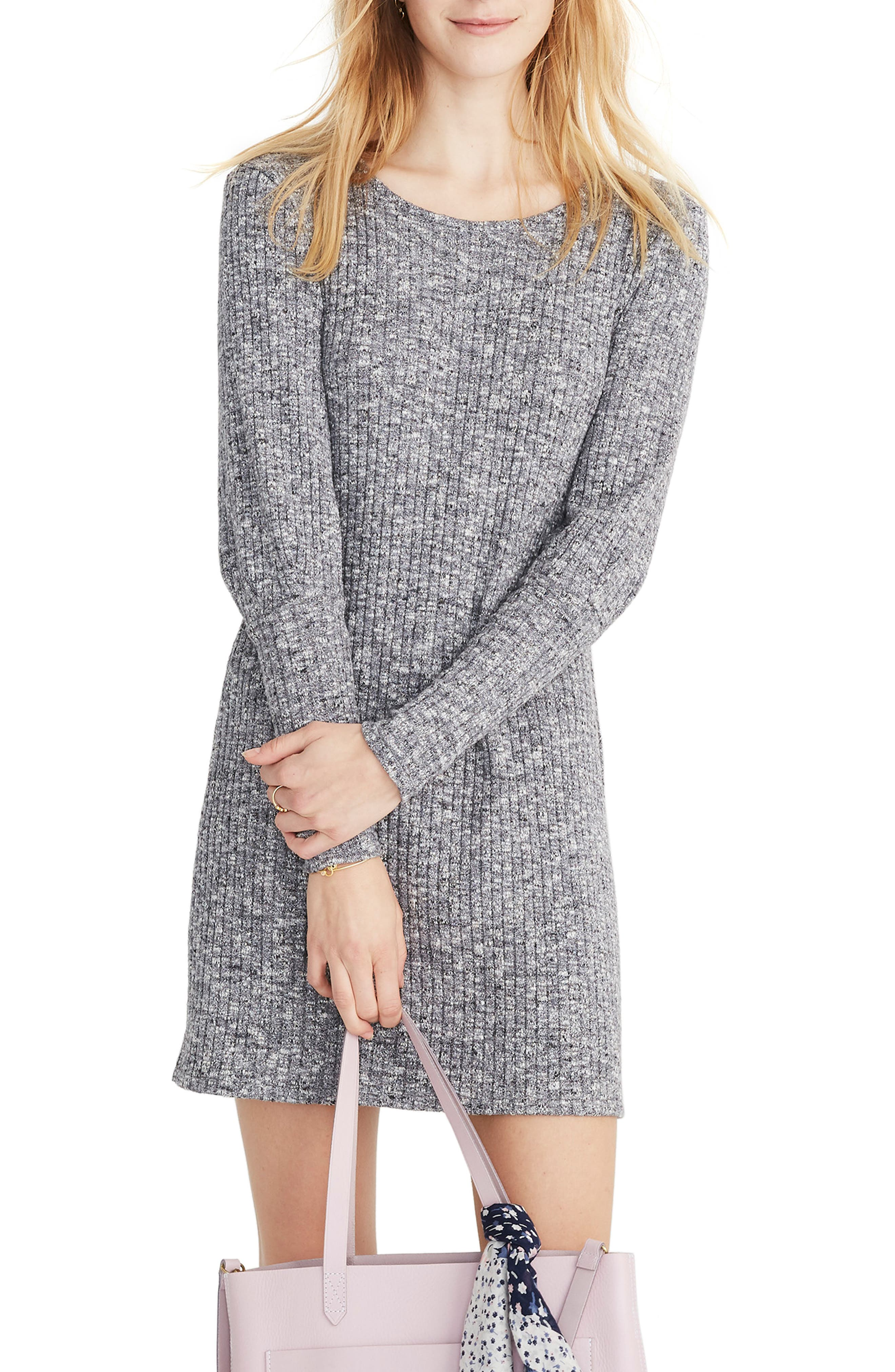 Madewell Ribbed Bubble Sleeve Dress, Grey