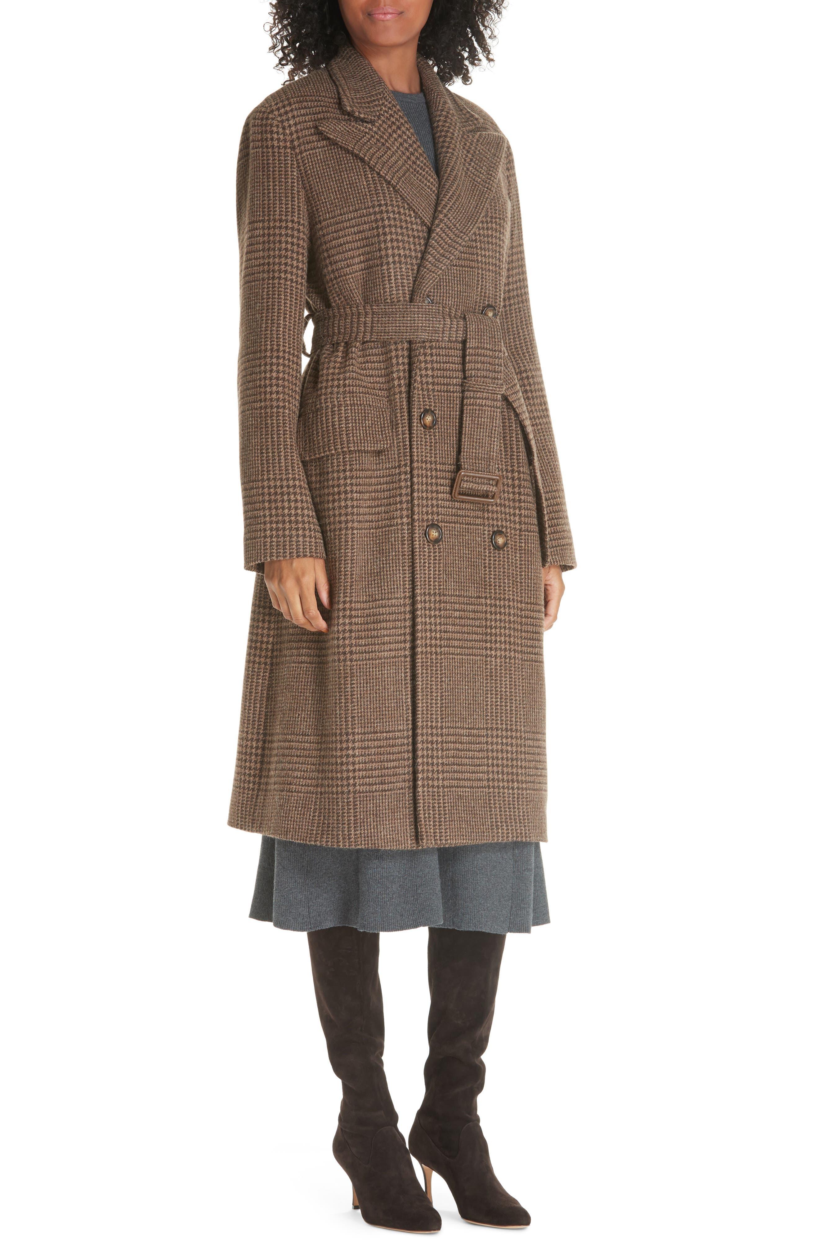 Plaid Lambswool & Alpaca Belted Coat,                             Alternate thumbnail 4, color,                             BROWN GLEN PLAID