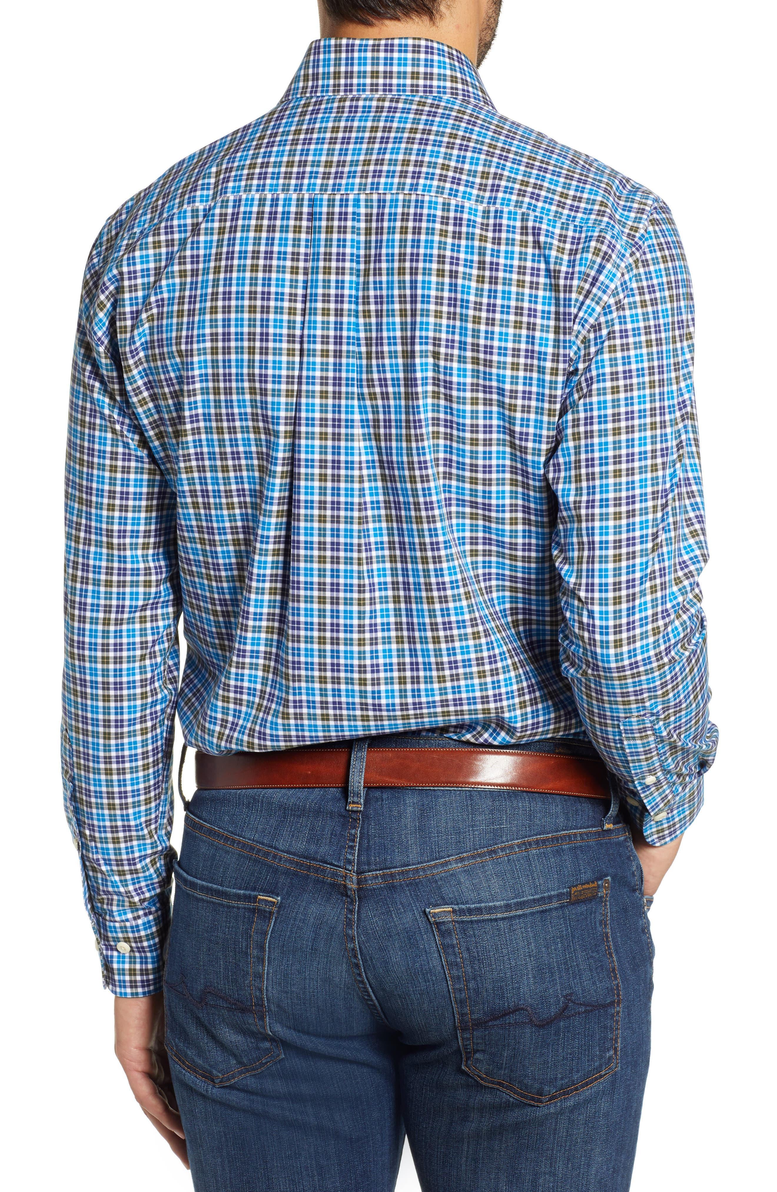 Crown Finish Salthill Check Regular Fit Sport Shirt,                             Alternate thumbnail 3, color,                             BLUE