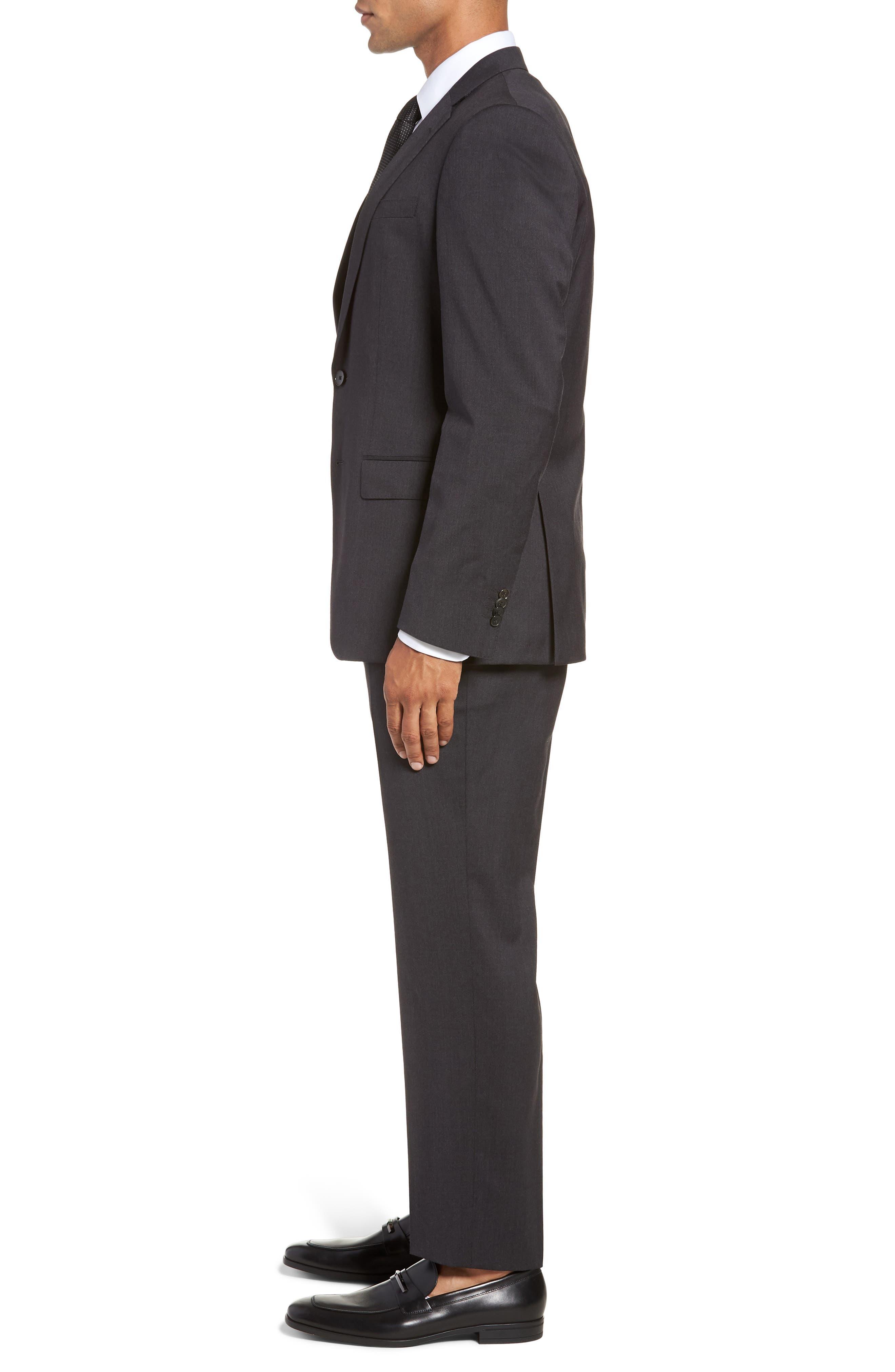 Huge/Genius Trim Fit Solid Wool Suit,                             Alternate thumbnail 3, color,                             DARK GREY