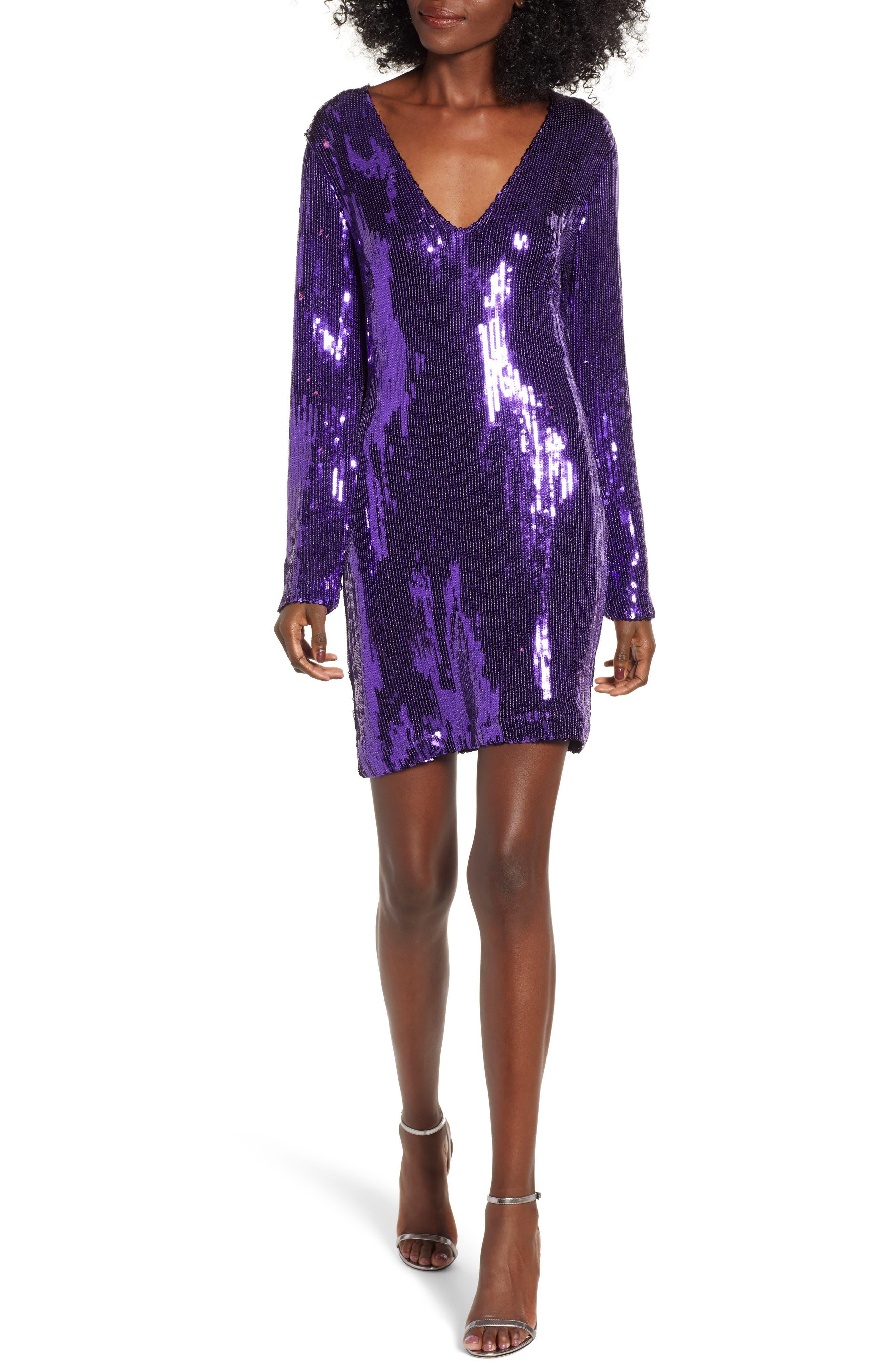 Sequin Minidress,                         Main,                         color, PURPLE