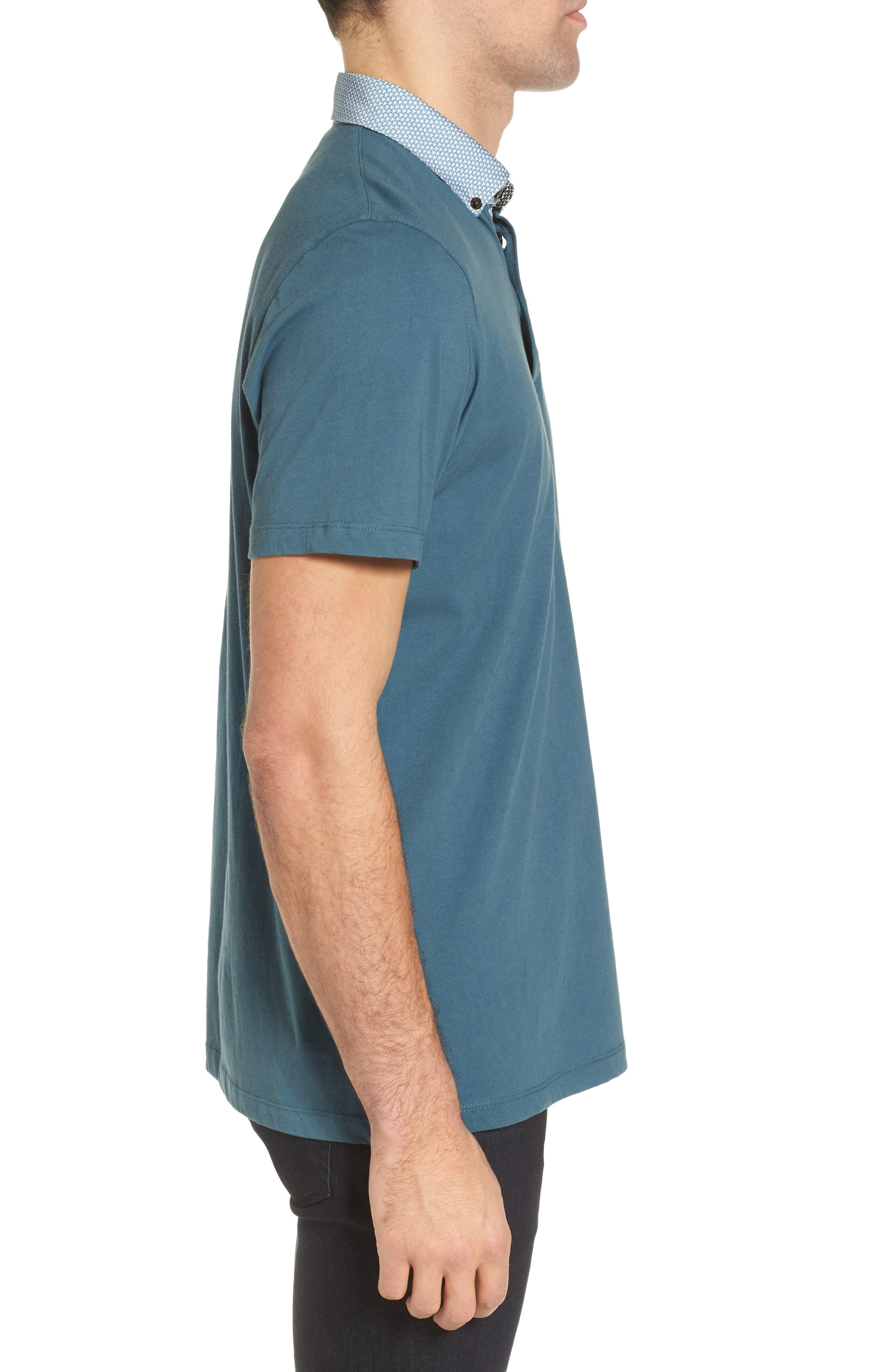 Movey Trim Fit Woven Geo Polo,                             Alternate thumbnail 3, color,                             400