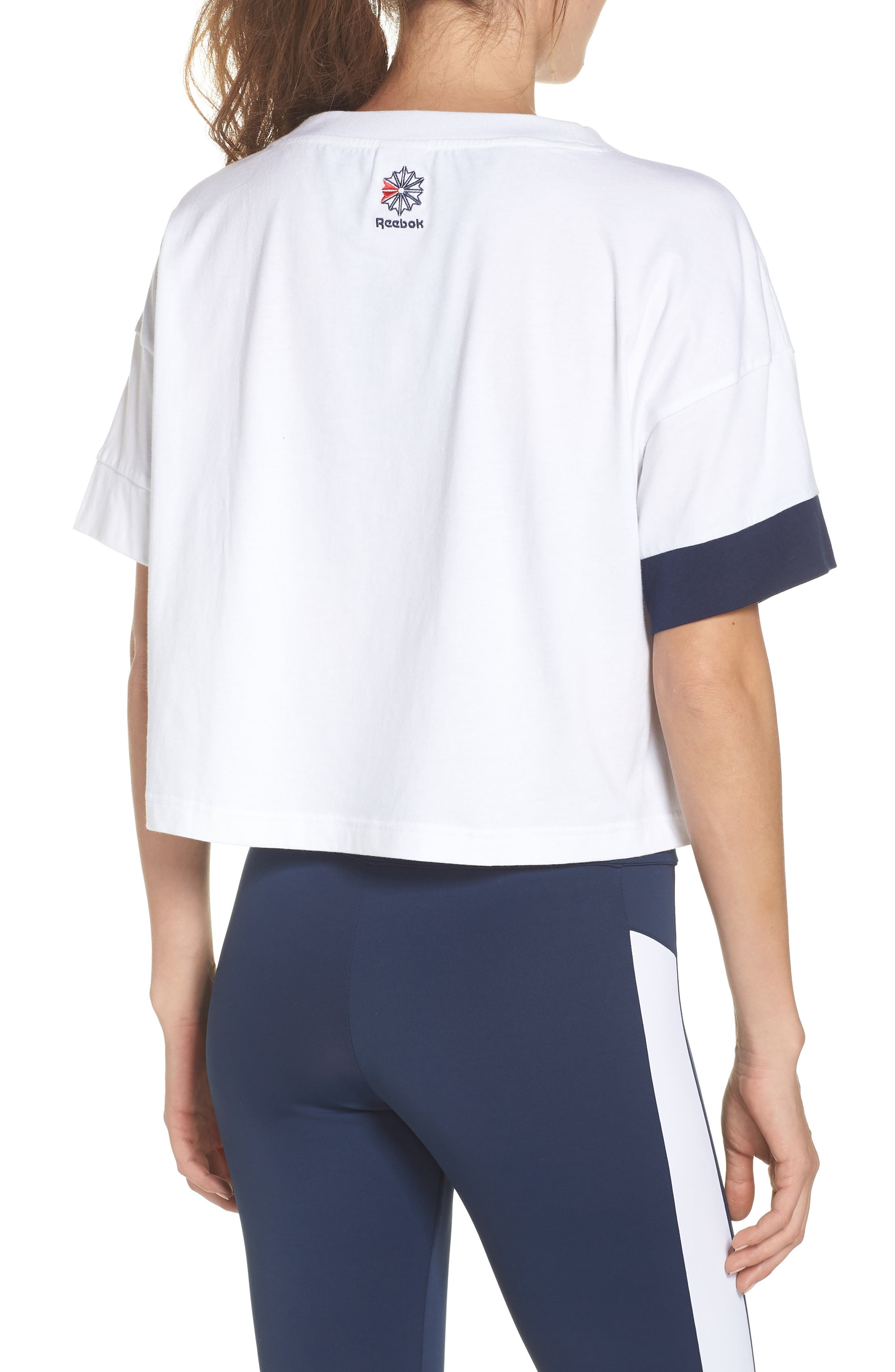 AC Cropped Tee,                             Alternate thumbnail 2, color,                             WHITE/ COLLEGIATE NAVY