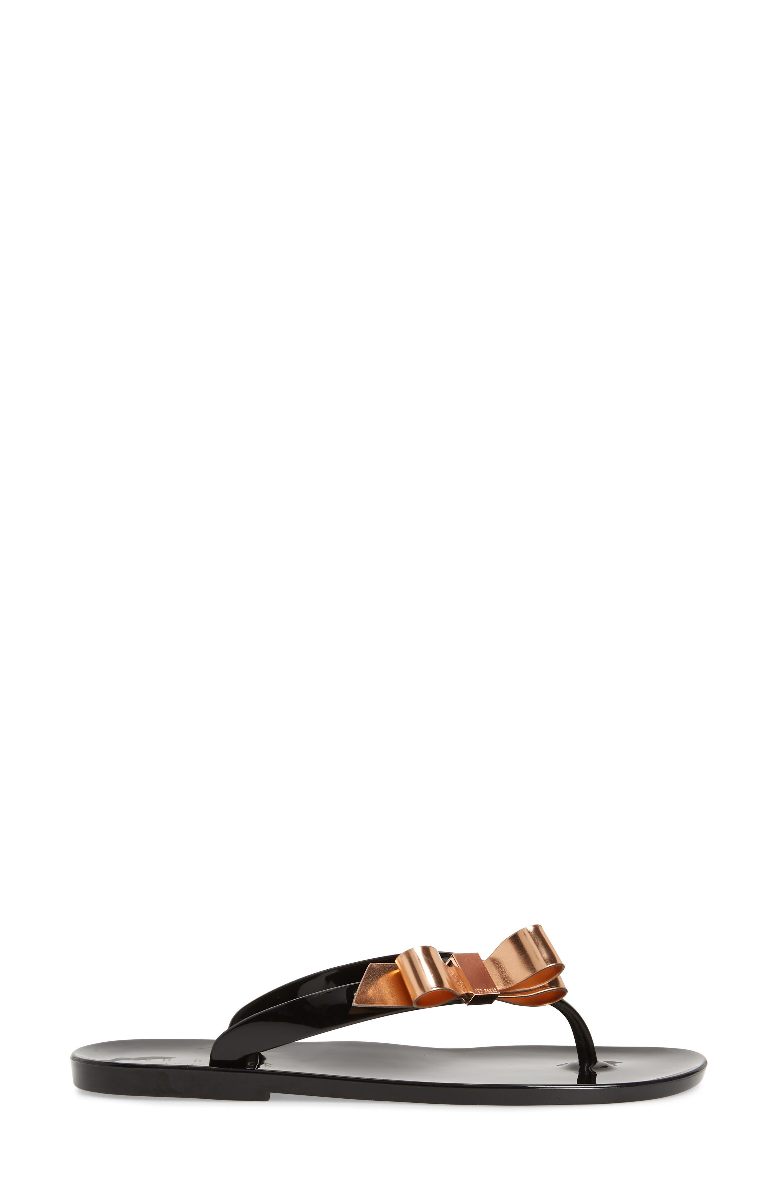 Suszie Flip Flop,                             Alternate thumbnail 3, color,                             BLACK/ CREAM RUBBER
