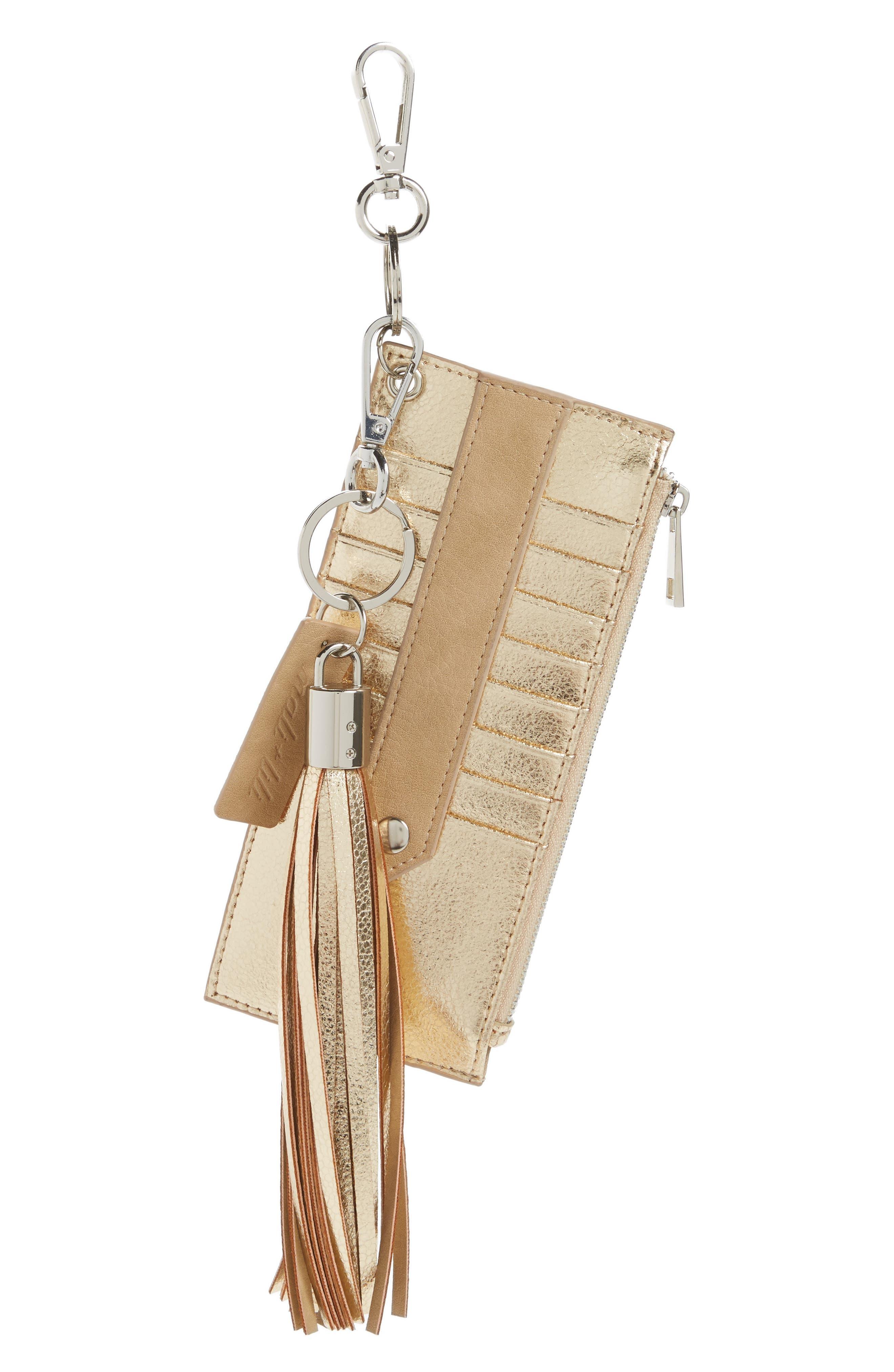 Mali + Lili Sydney Vegan Leather Card Case with Tassel Charm,                             Main thumbnail 2, color,