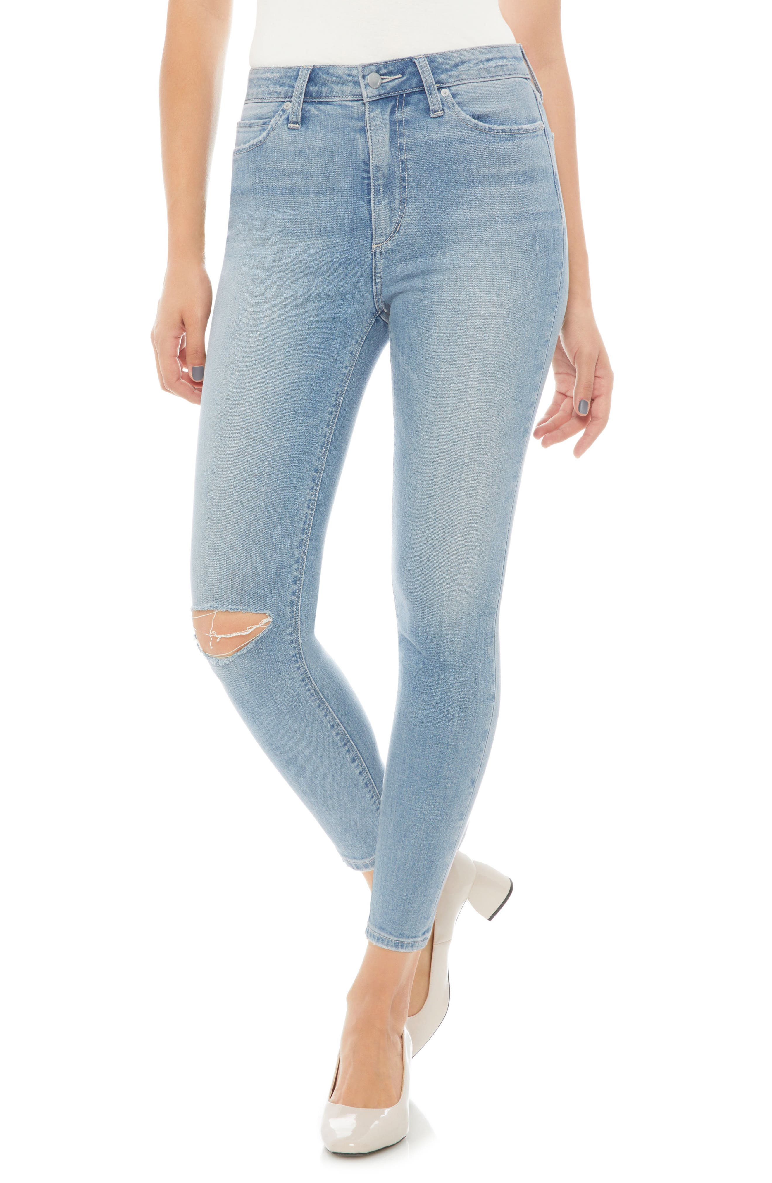 Charlie Ripped High Waist Crop Jeans,                             Main thumbnail 1, color,                             420