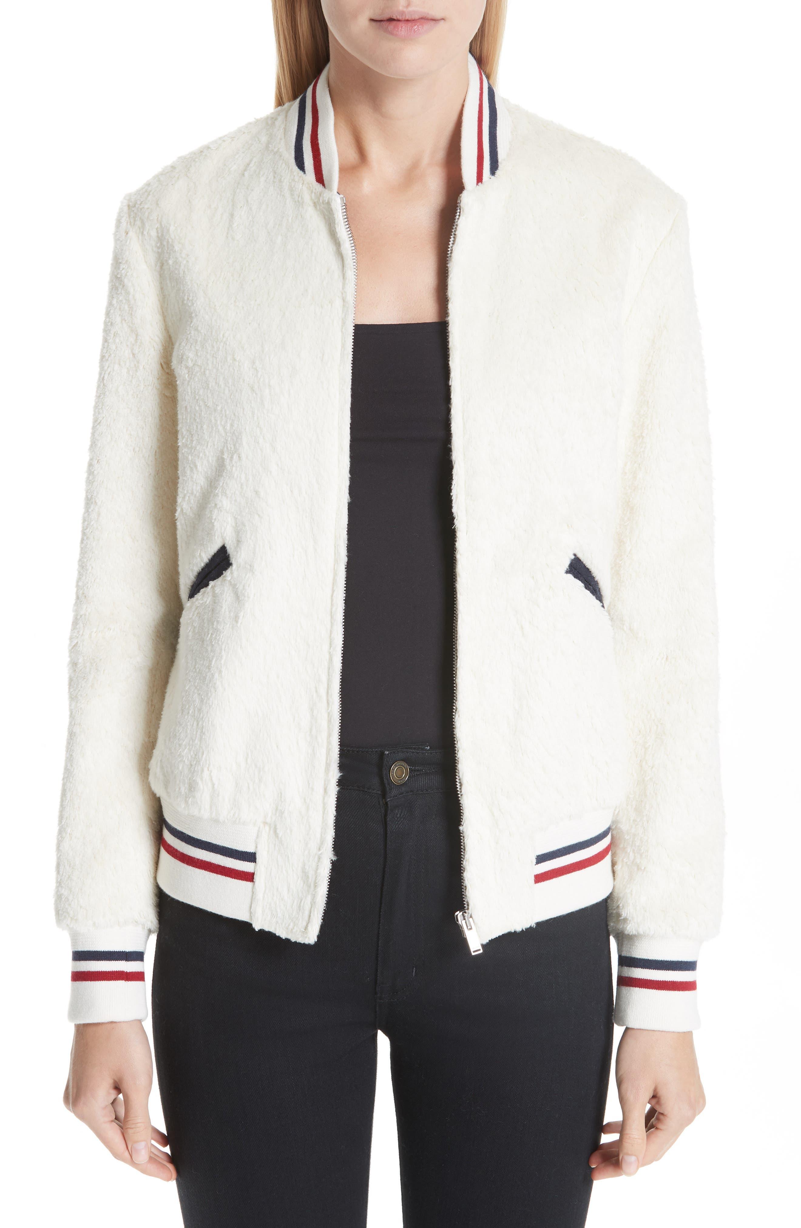 SAINT LAURENT,                             Teddy Faux Fur Bomber Jacket,                             Main thumbnail 1, color,                             WHITE