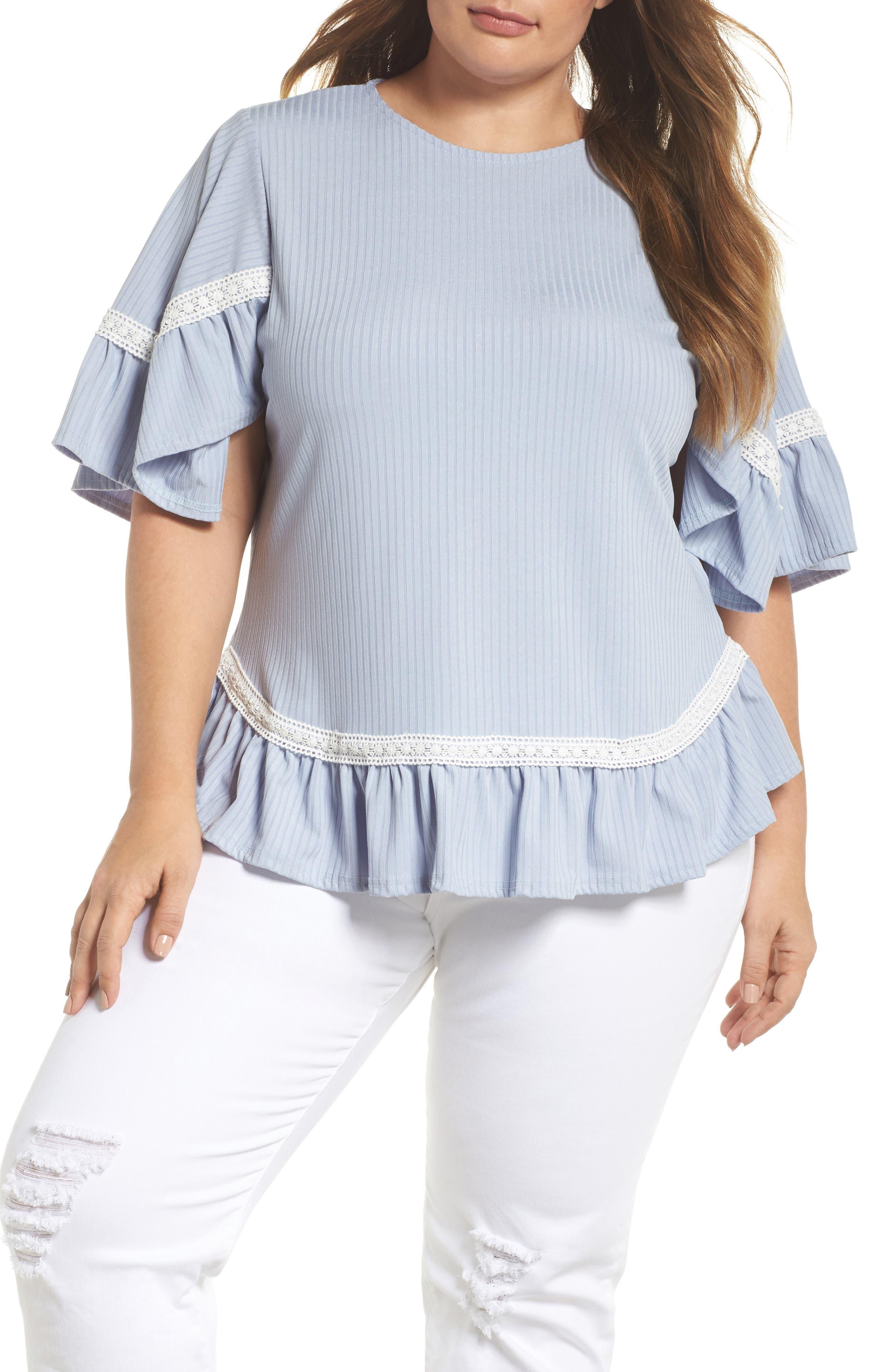 Crochet Lace Trim Top,                         Main,                         color,