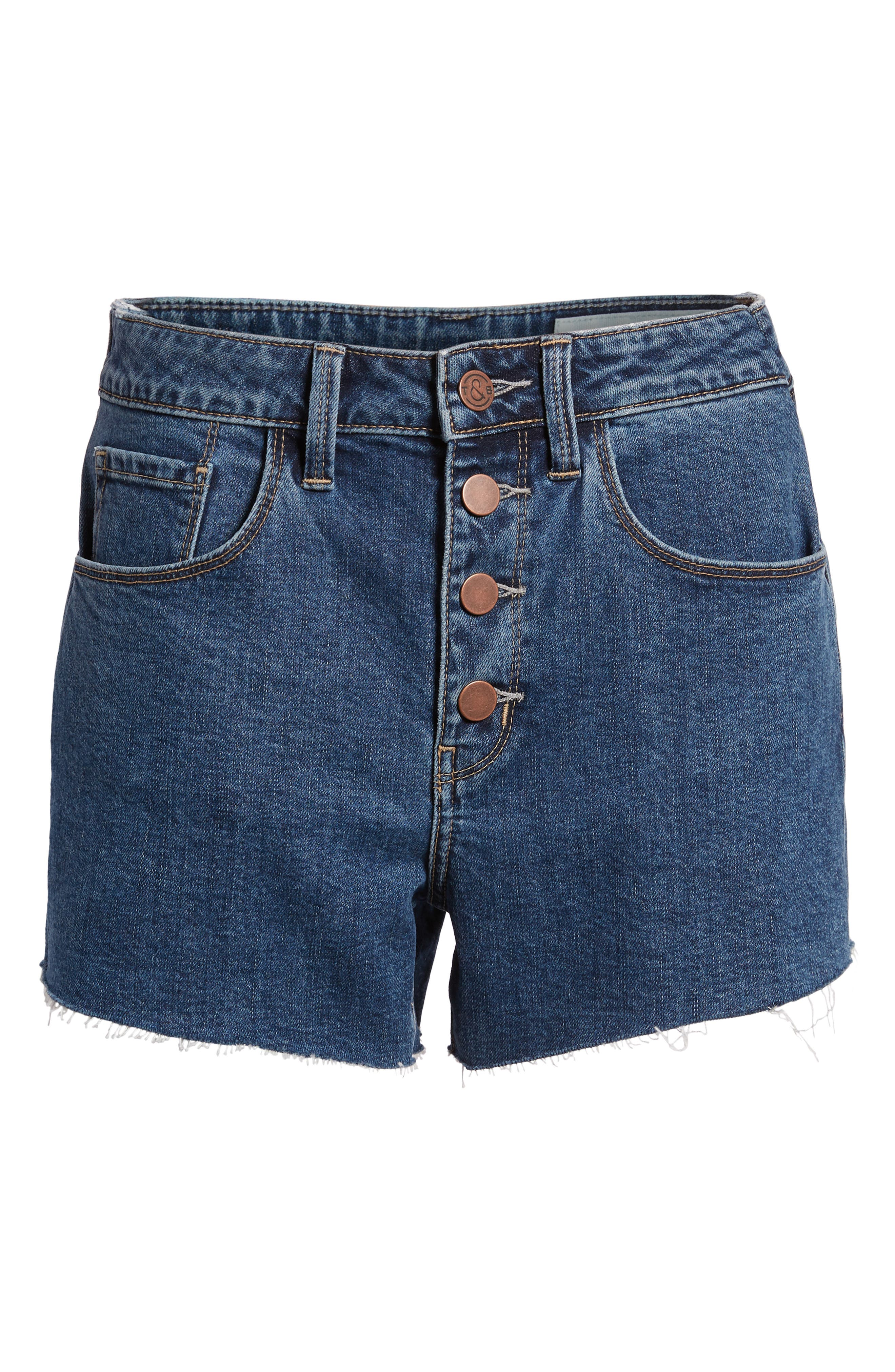 High Waist Cutoff Denim Shorts,                             Alternate thumbnail 7, color,                             400