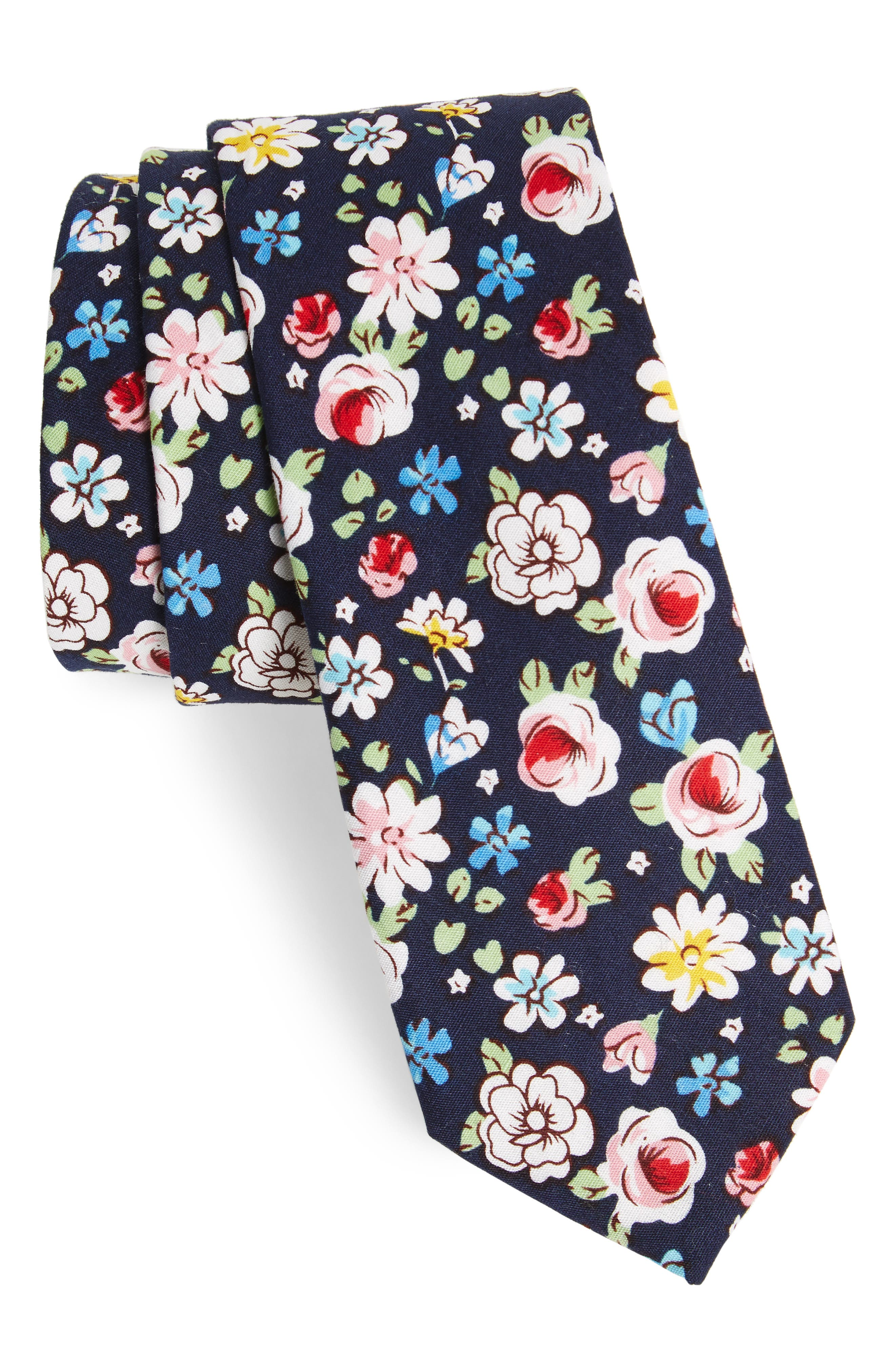 Frenso Floral Cotton Skinny Tie,                             Main thumbnail 2, color,