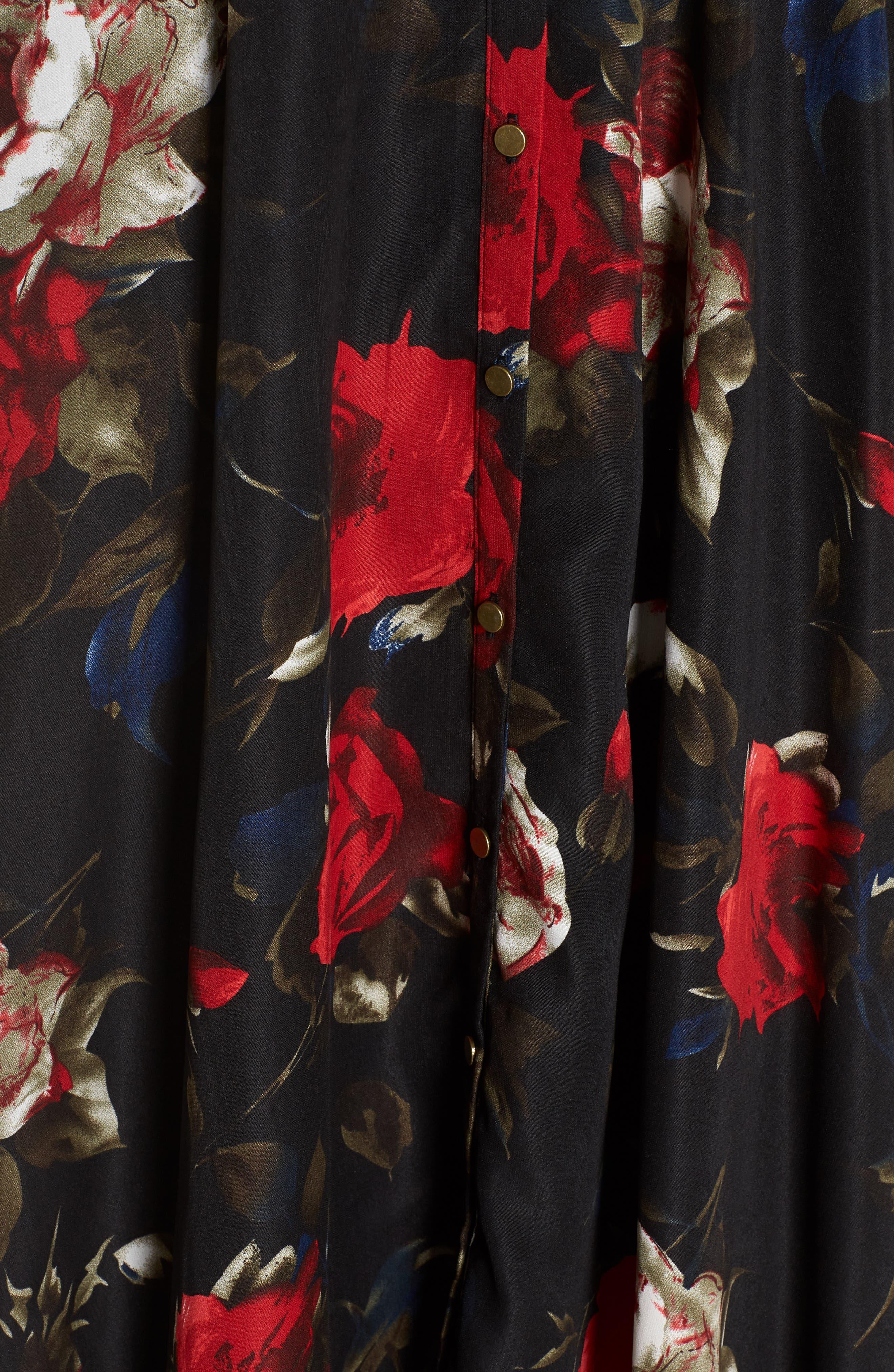 Off the Shoulder Midi Dress,                             Alternate thumbnail 7, color,                             BLACK LUSH ROSE FLORAL