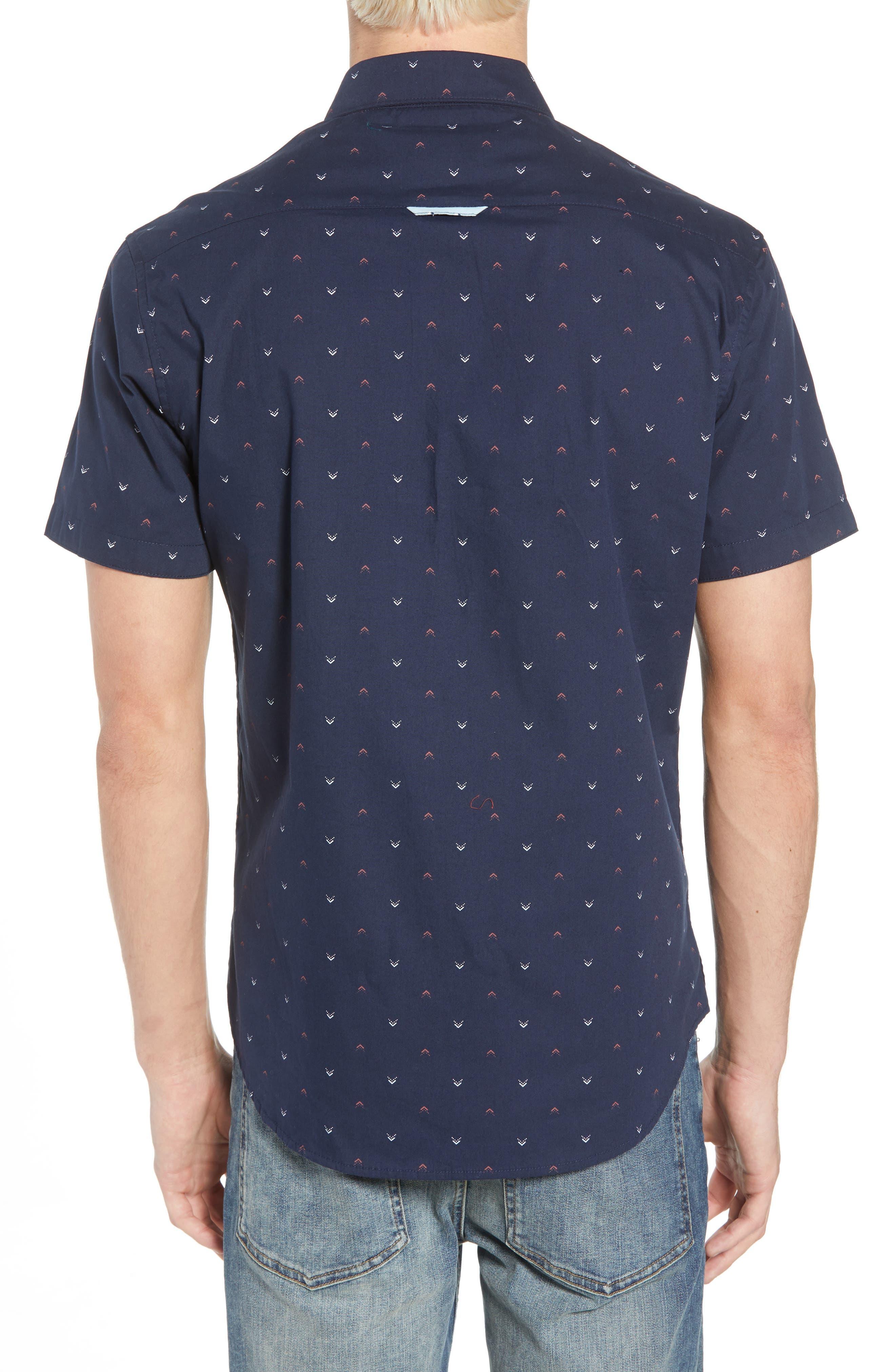 Victory Lap Trim Fit Sport Shirt,                             Alternate thumbnail 3, color,                             NAVY