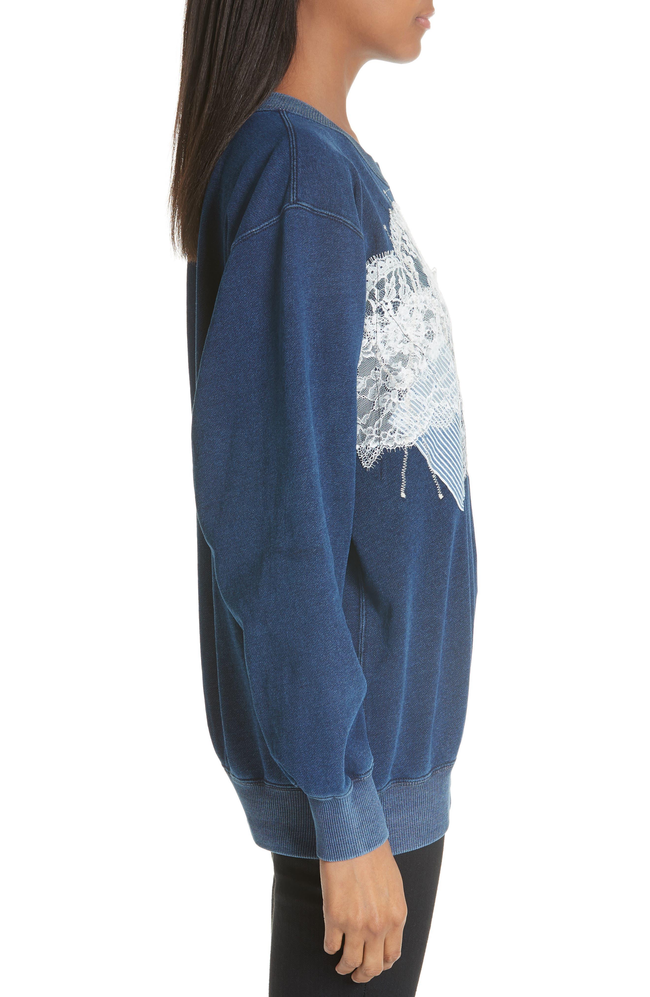 Lace Patch Sweatshirt,                             Alternate thumbnail 3, color,                             400