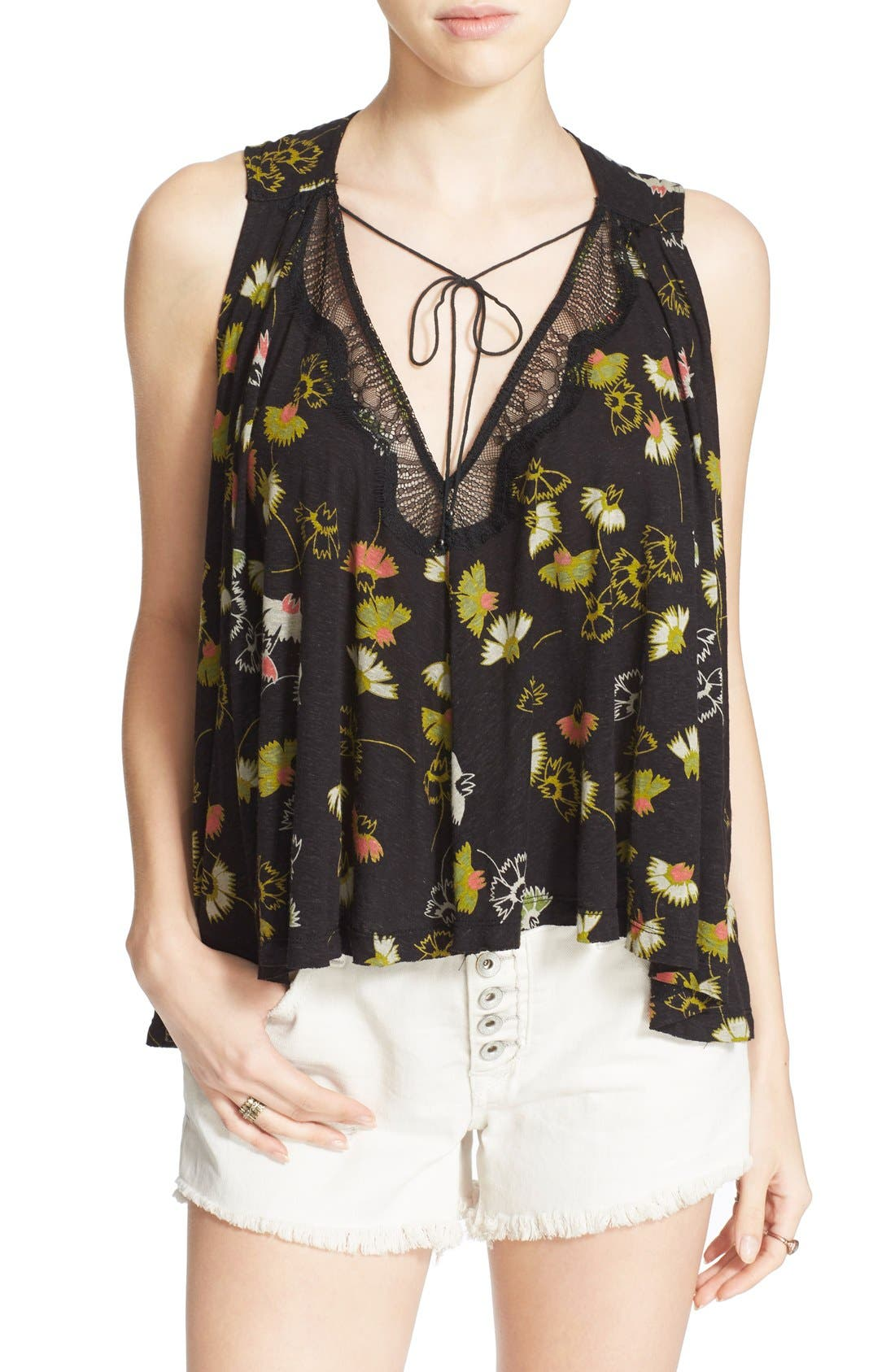 'Love Potion' Floral Print Sleeveless Knit Top, Main, color, 001