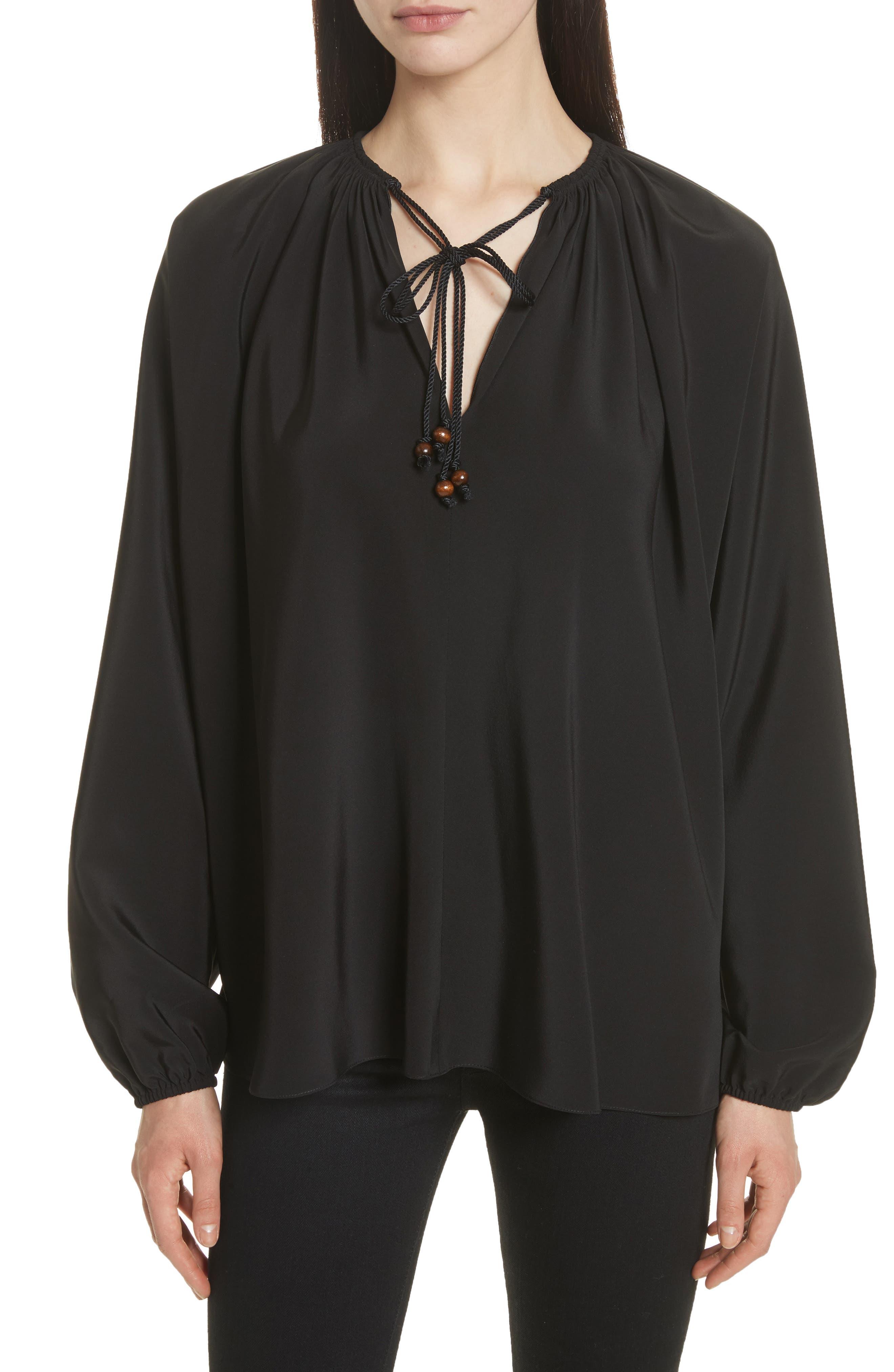 Chance Tie Neck Silk Top,                         Main,                         color, 001