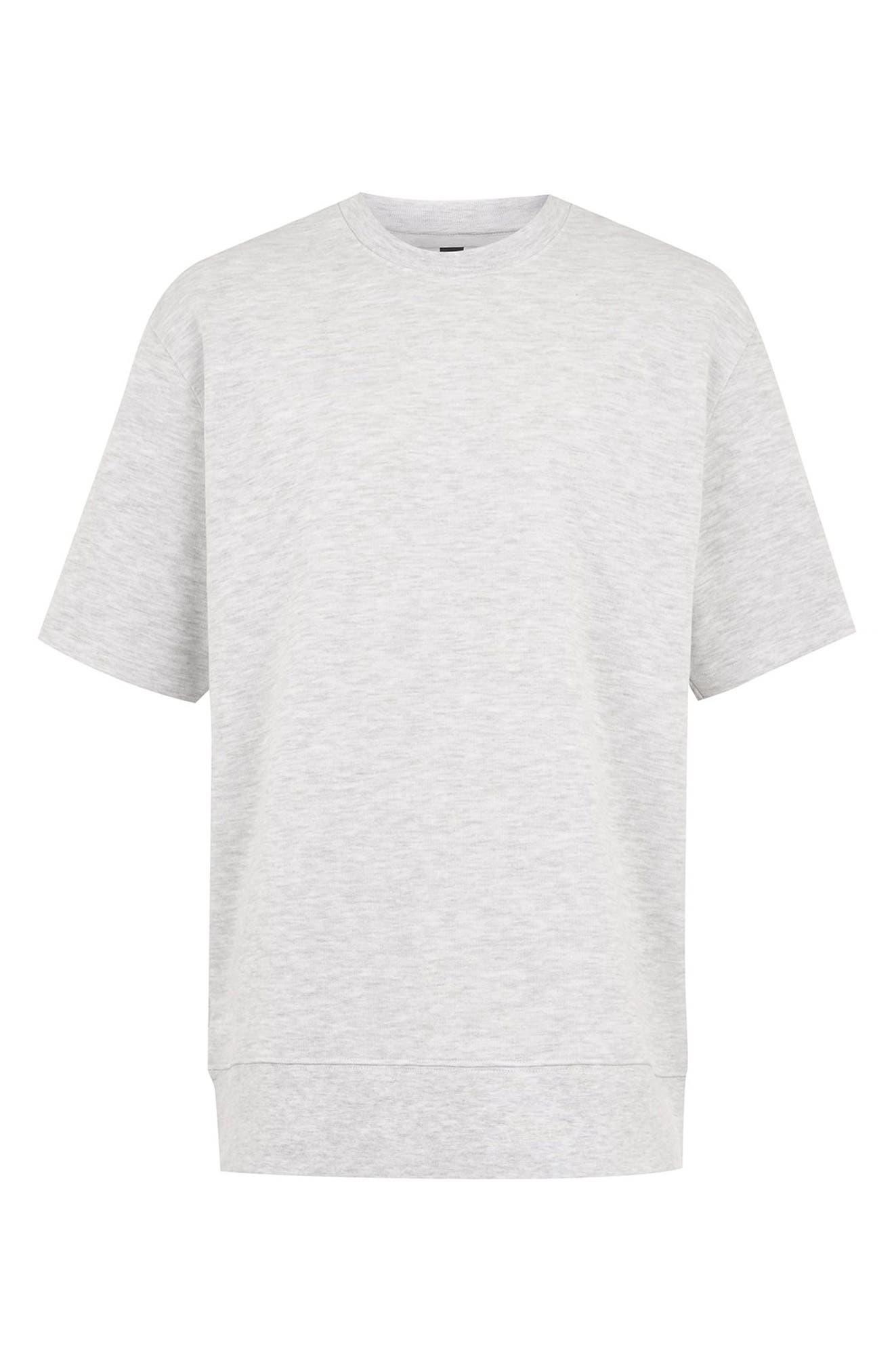 Short Sleeve Crewneck Sweatshirt,                             Alternate thumbnail 4, color,                             LIGHT GREY