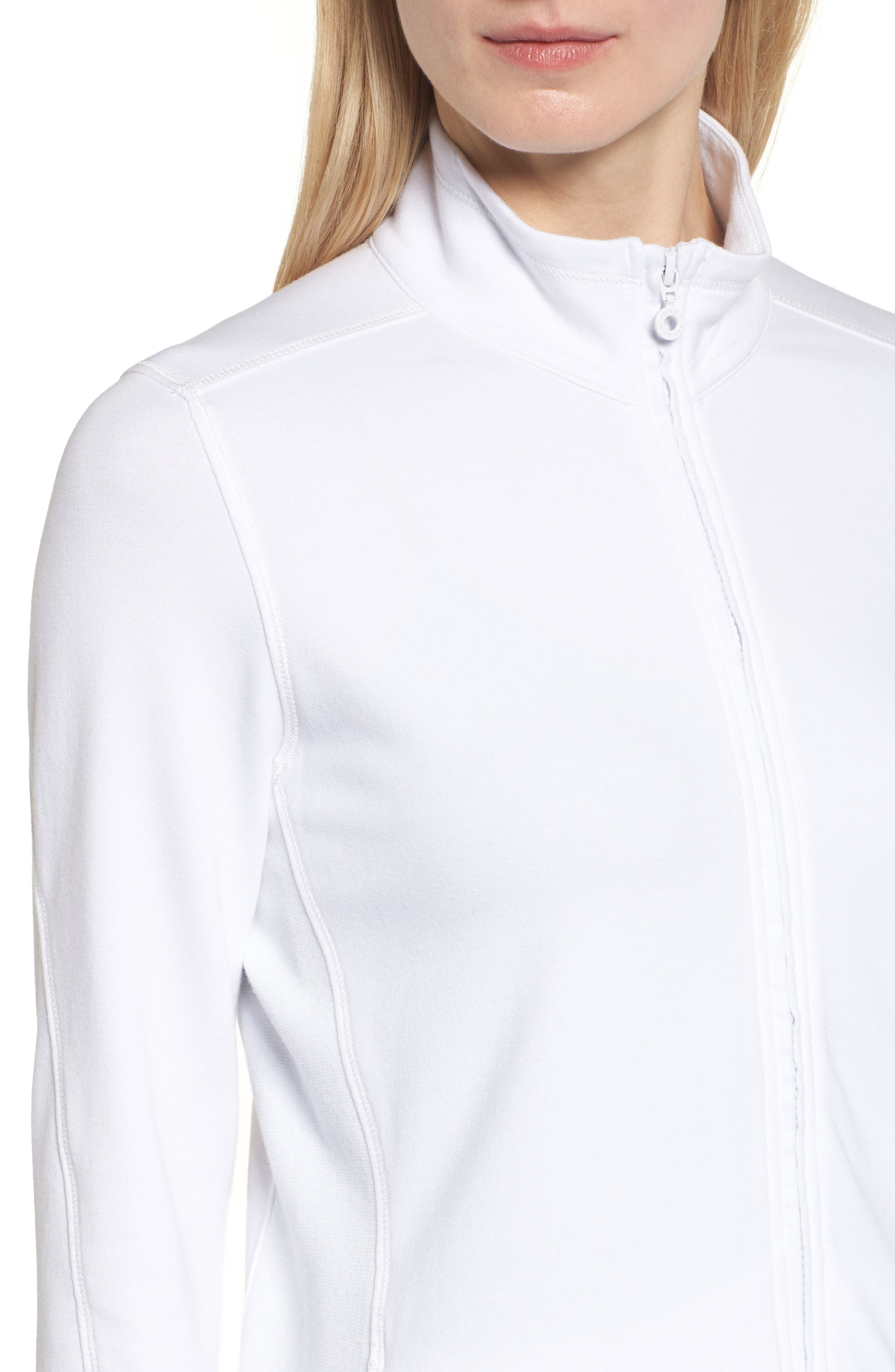 Jen and Terry Full Zip Top,                             Alternate thumbnail 4, color,                             WHITE