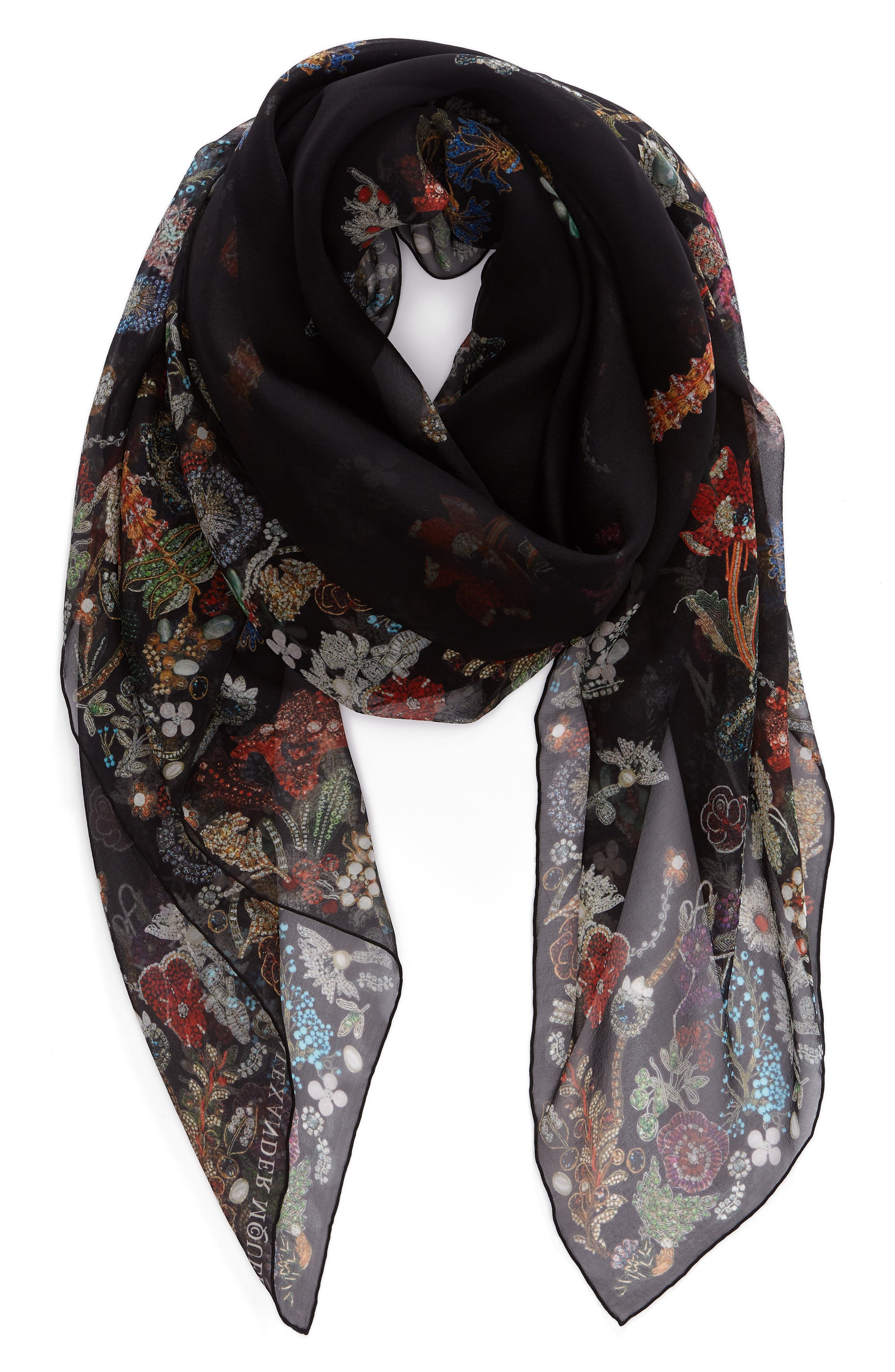 Jeweled Garden Silk Chiffon Scarf,                             Alternate thumbnail 3, color,                             001