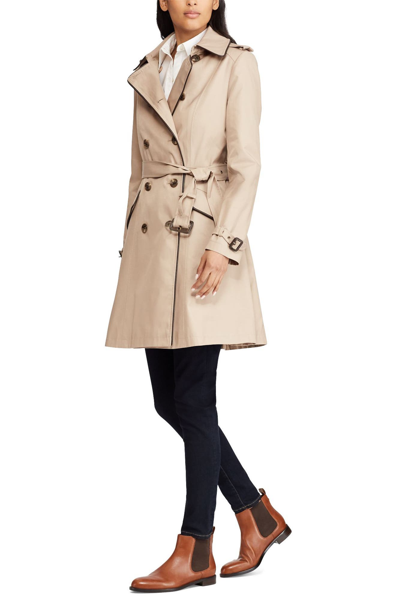 Double Breasted Short Trench Coat,                             Alternate thumbnail 3, color,                             SAND