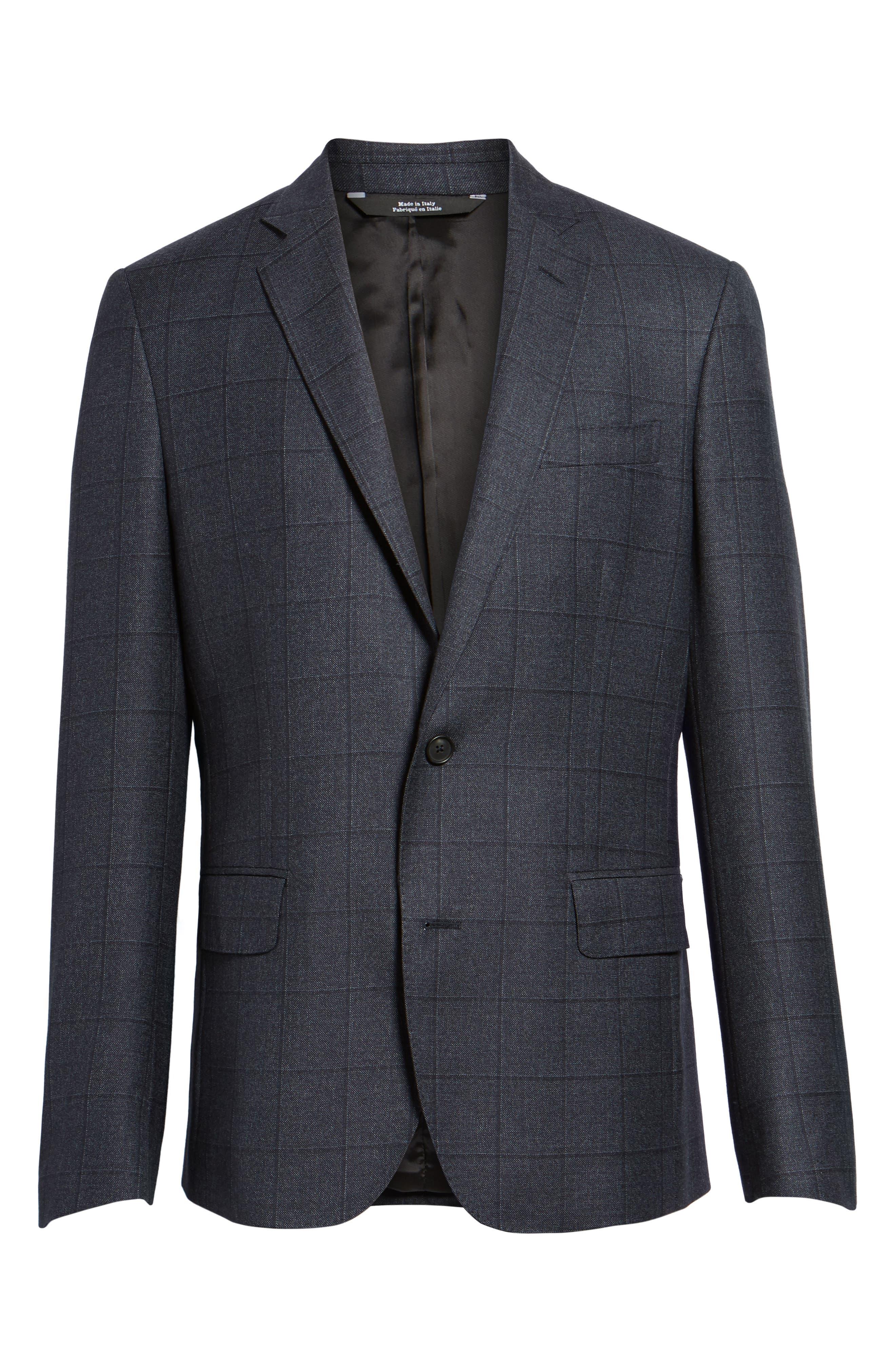 Trim Fit Windowpane Wool Sport Coat,                             Alternate thumbnail 5, color,