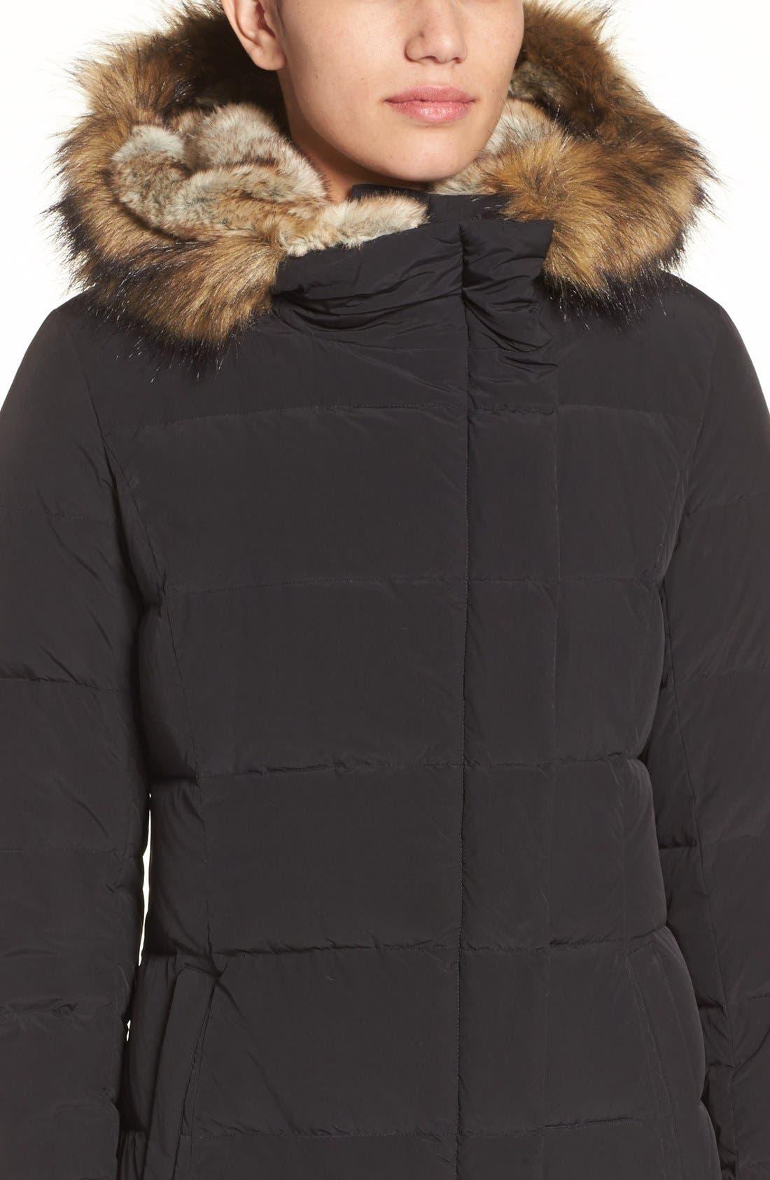 Asymmetrical Down Coat with Faux Fur Trim,                             Alternate thumbnail 4, color,                             001