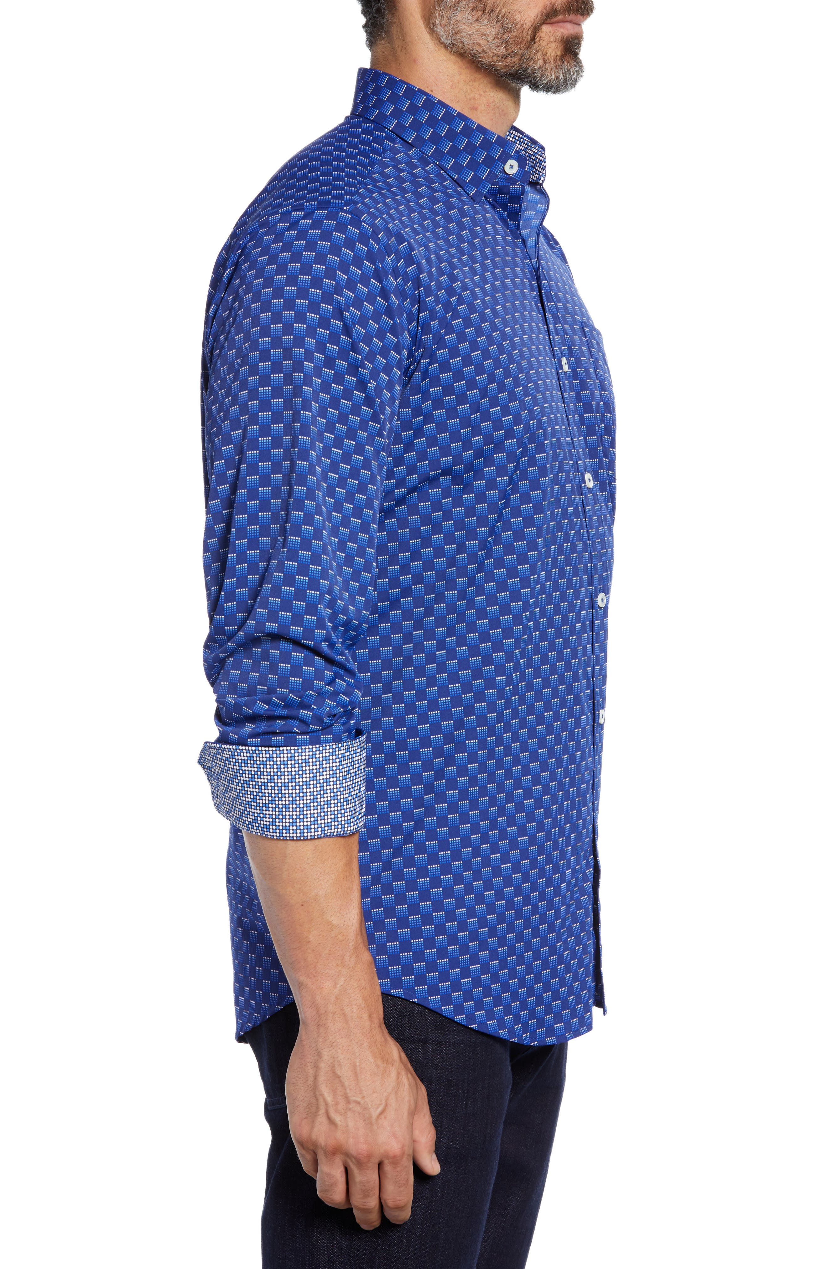 Classic Fit Print Performance Sport Shirt,                             Alternate thumbnail 4, color,                             NIGHT BLUE