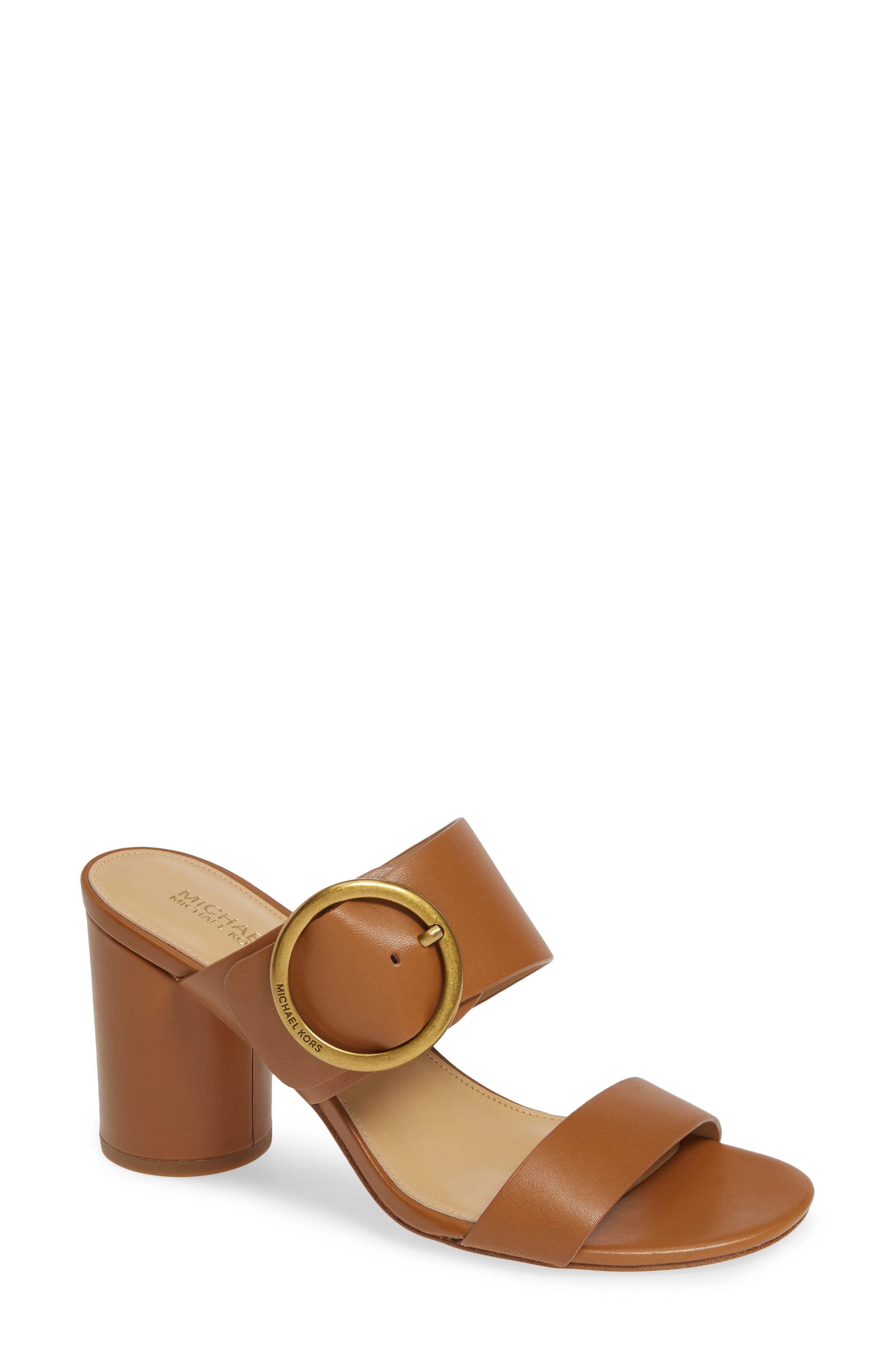 Estelle Mid-Heel Slide Sandals in Acorn Vachetta Leather