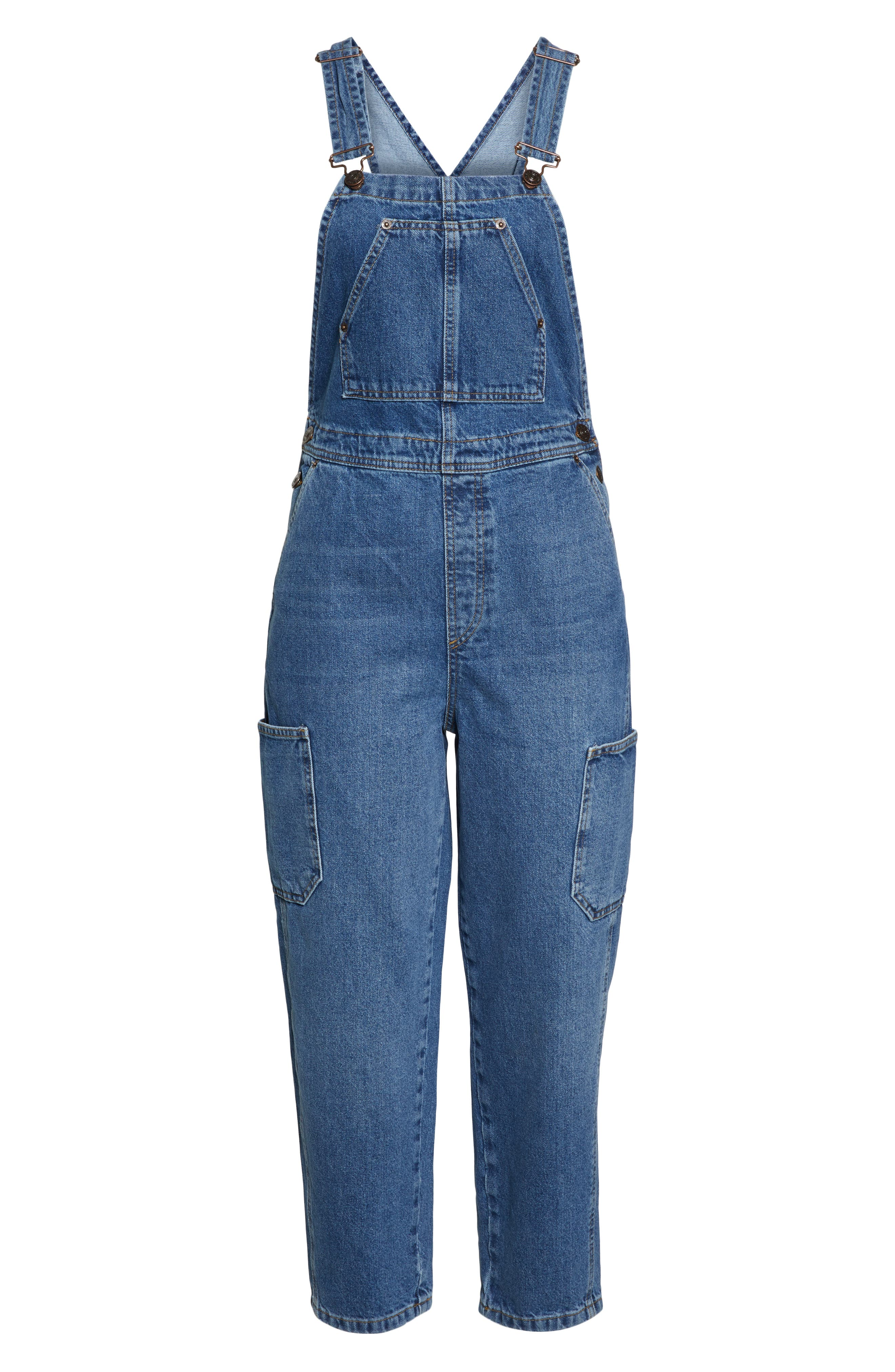 Urban Outfitters Workwear Denim Overalls,                             Alternate thumbnail 6, color,                             DENIM BLUE