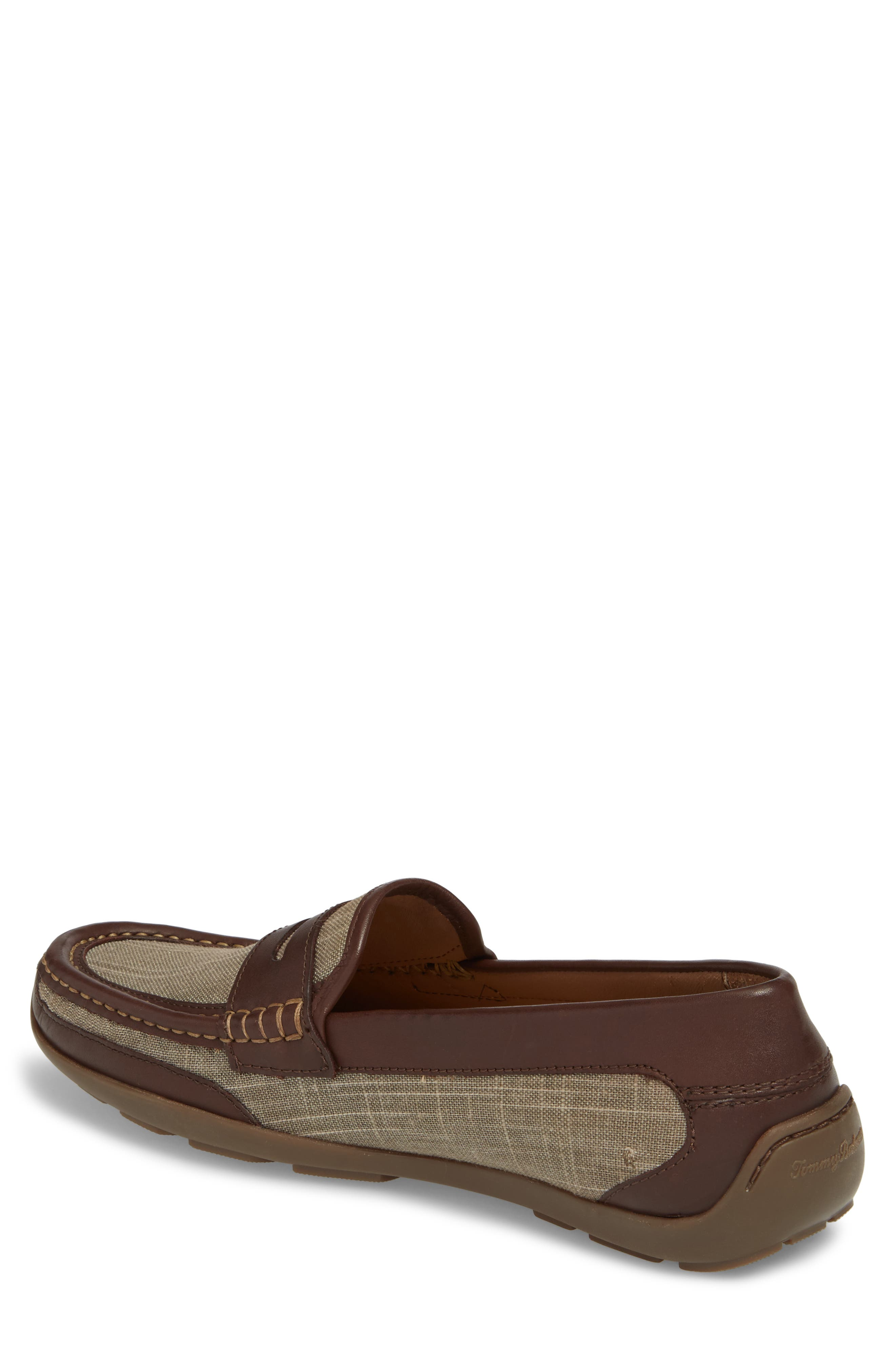 Taza Fronds Driving Shoe,                             Alternate thumbnail 2, color,                             BROWN/ OLIVE LEATHER/ LINEN