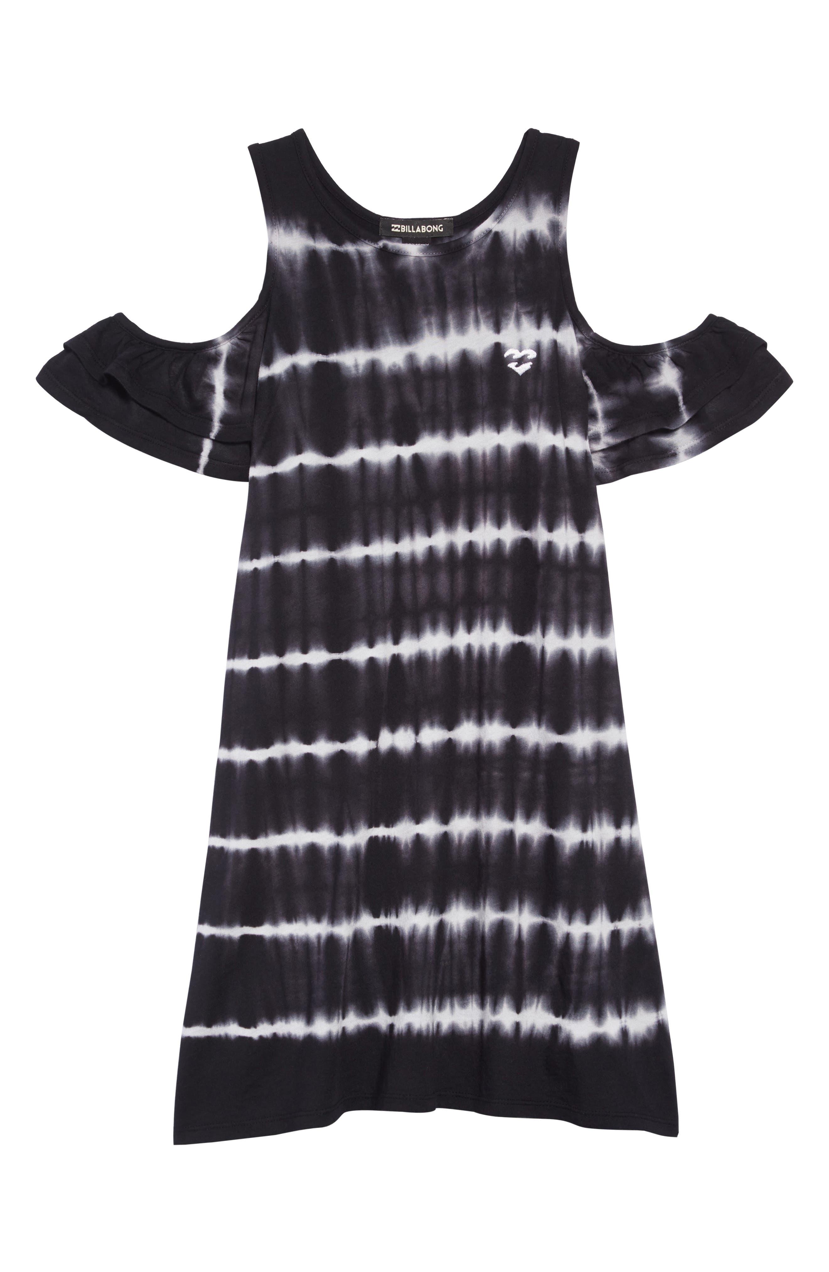 Chasing Waves Cold Shoulder Dress,                             Main thumbnail 1, color,                             BLACK