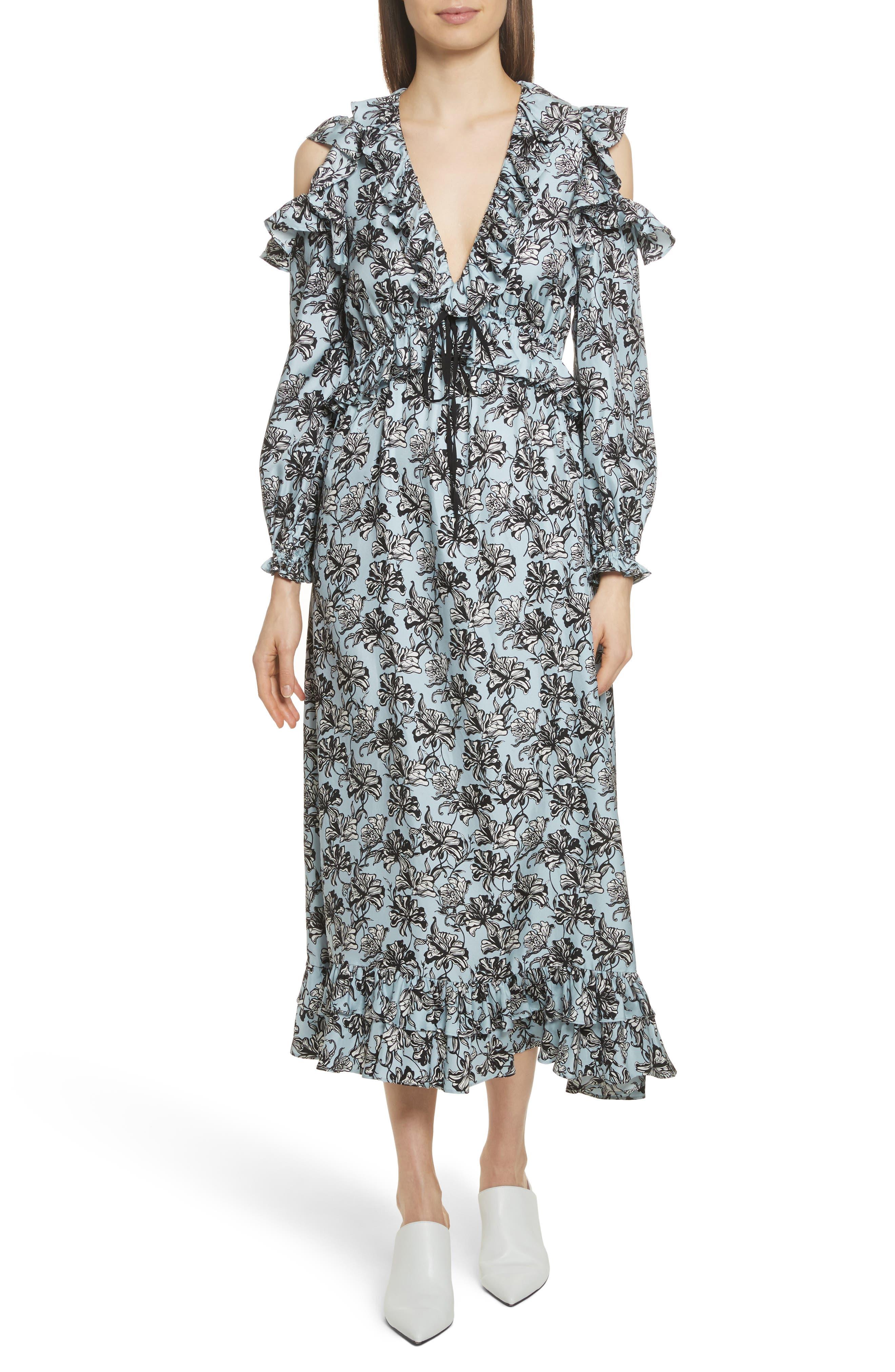 Ruffle Trim Cold Shoulder Silk Dress,                             Main thumbnail 1, color,                             420