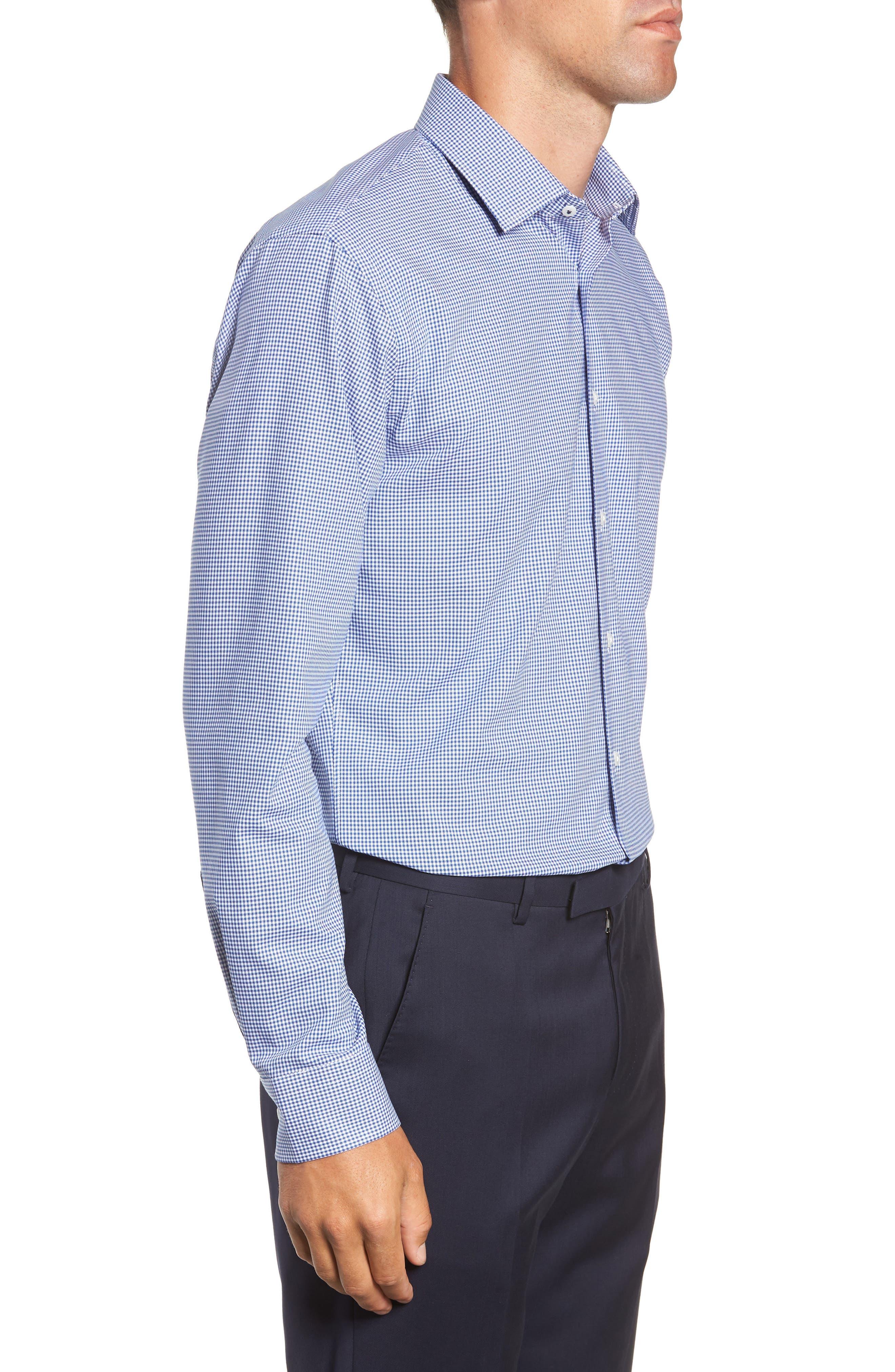 Tech-Smart Trim Fit Stretch Check Dress Shirt,                             Alternate thumbnail 4, color,                             BLUE MARINE