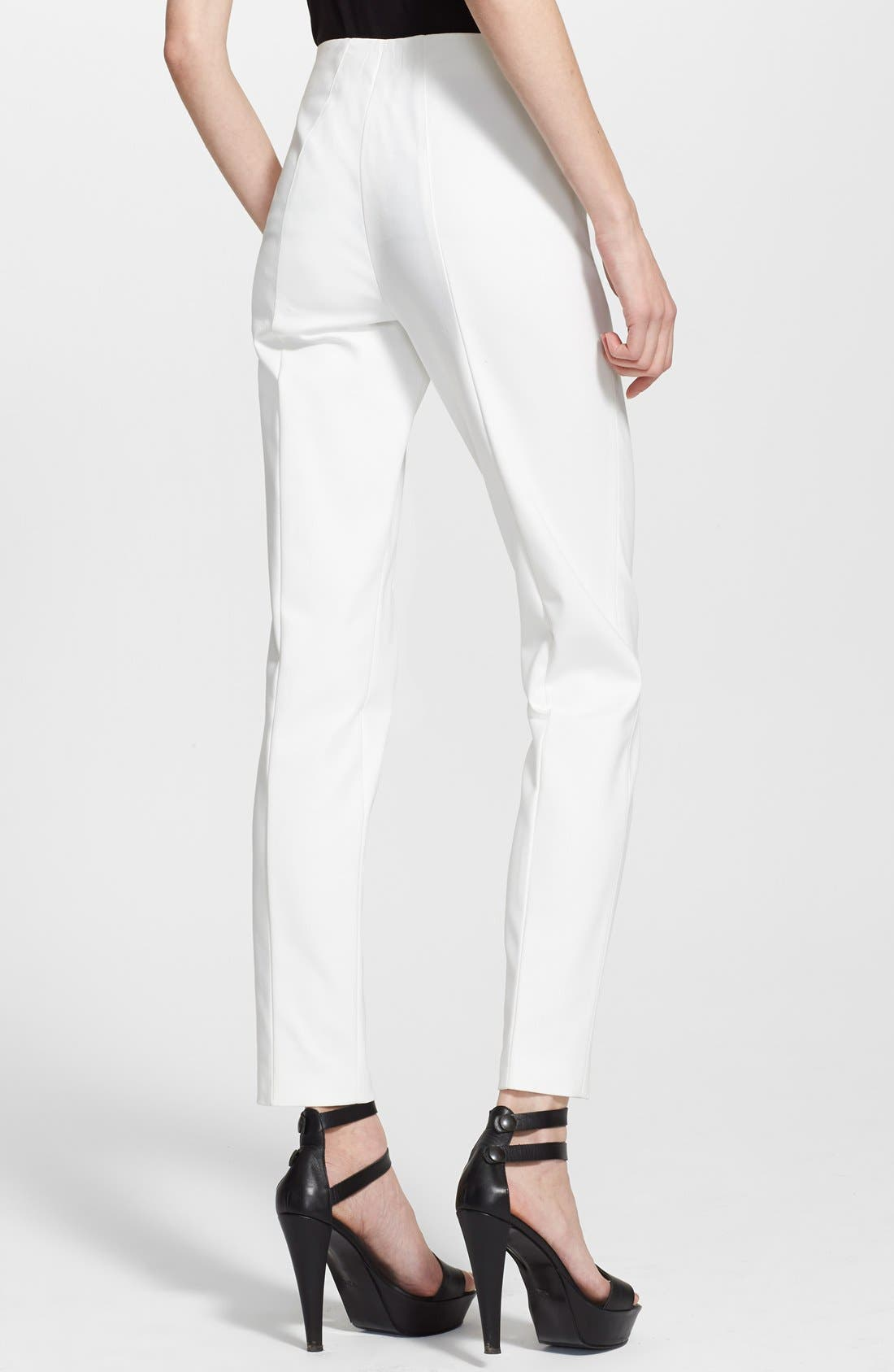 'Melissa' Slim Techno Cotton Pants,                             Alternate thumbnail 10, color,                             OFF WHITE