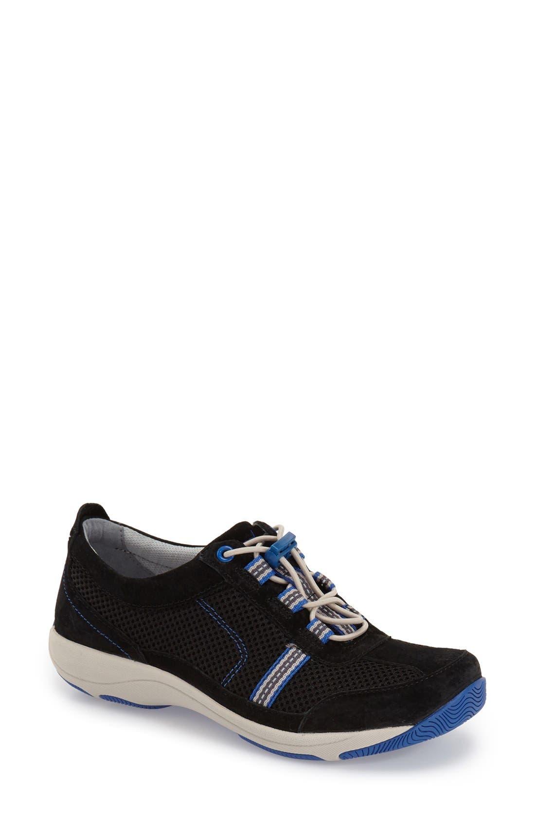 'Helen' Suede & Mesh Sneaker,                             Main thumbnail 4, color,