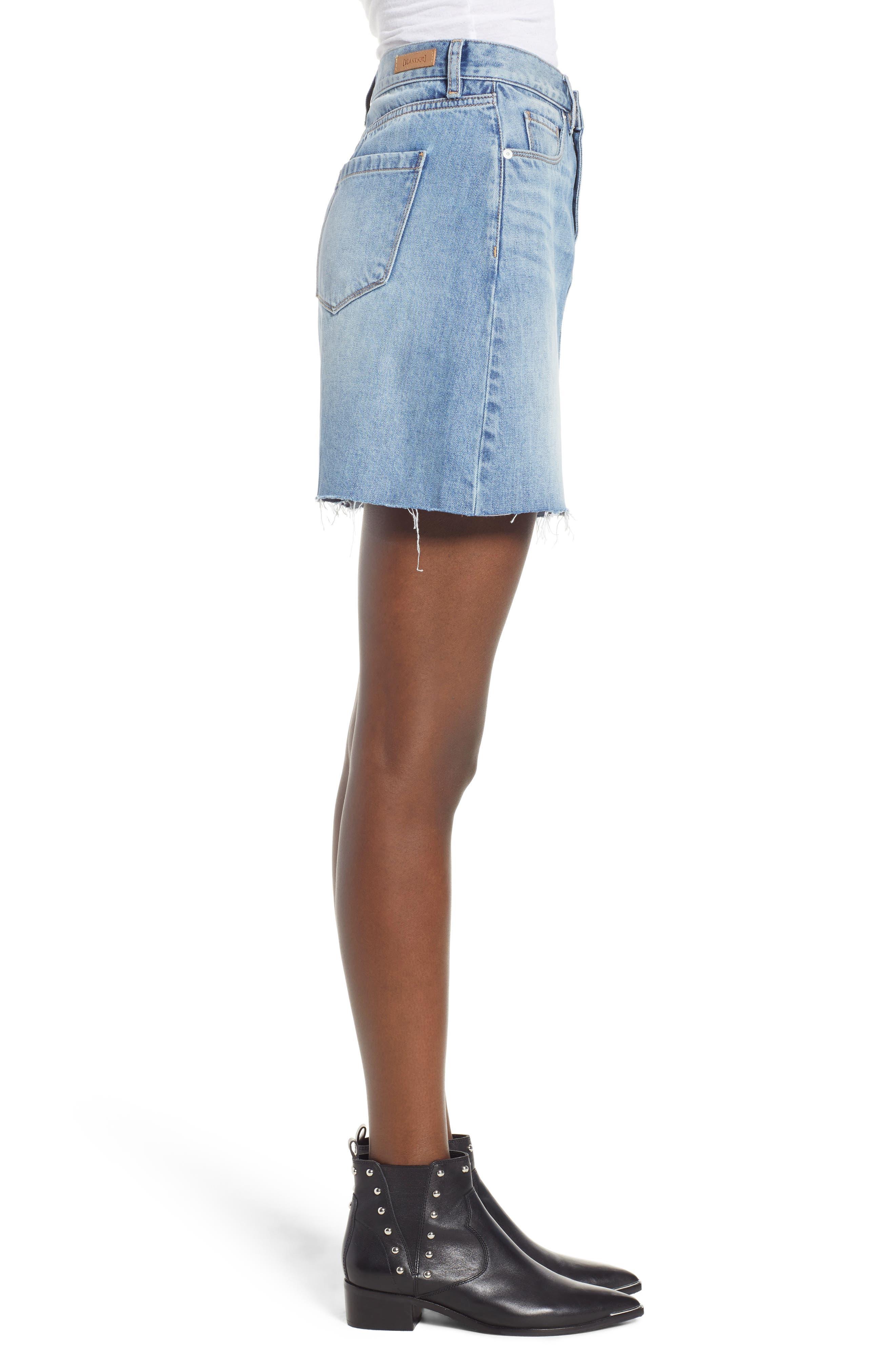 Raw Hem Denim Skirt,                             Alternate thumbnail 3, color,                             420