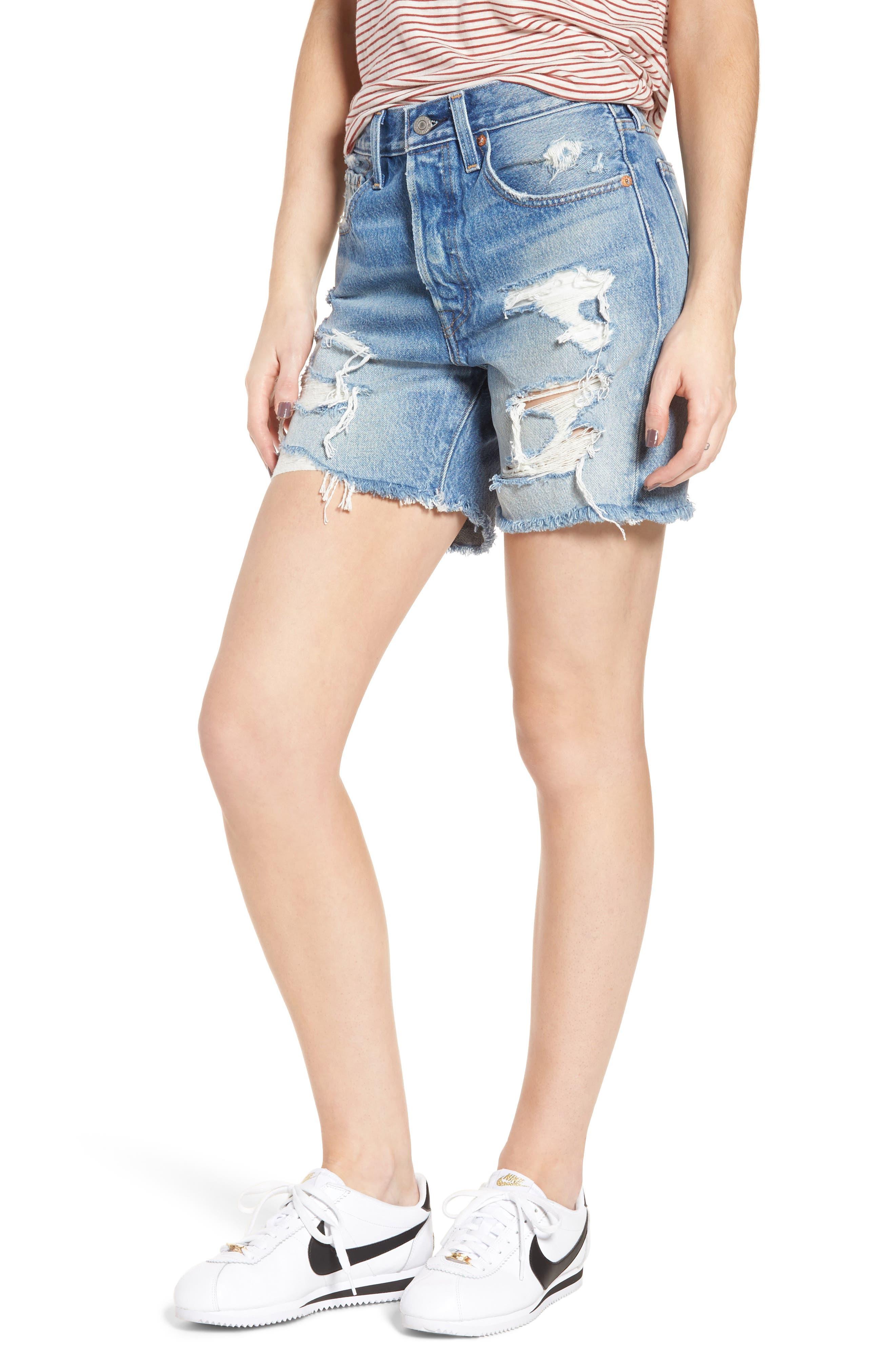 Indie Shredded Cutoff Denim Shorts,                         Main,                         color, 450