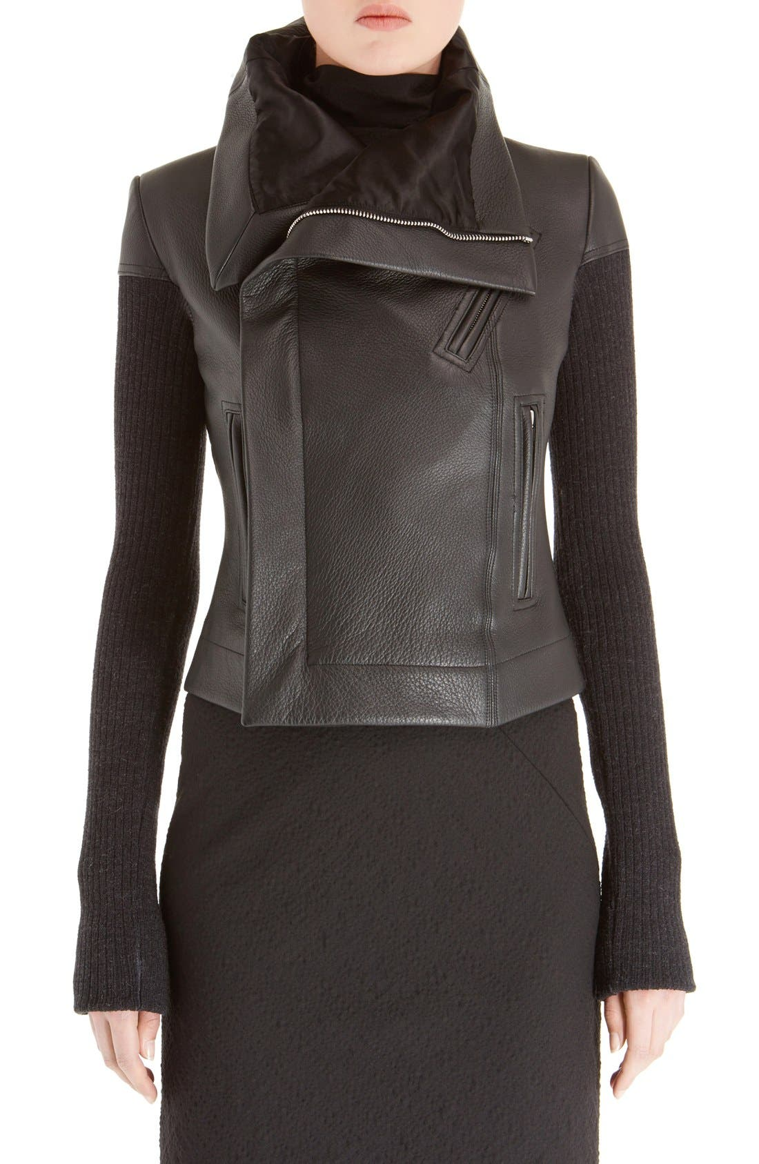 Leather Biker Jacket,                         Main,                         color, BLACK
