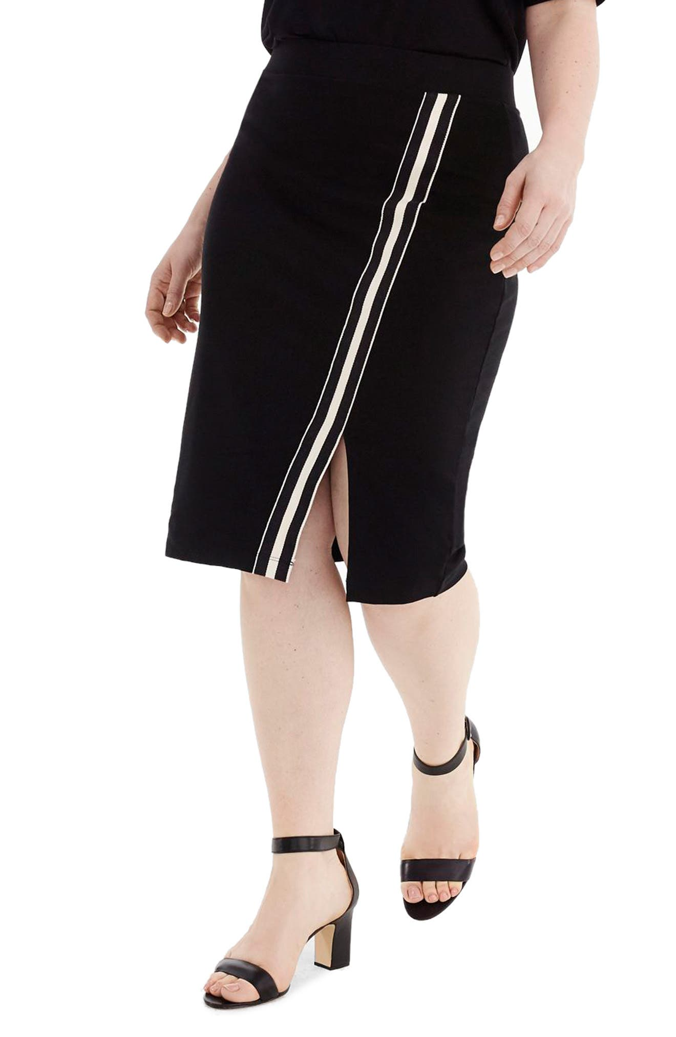 for J.Crew Track Stripe Slit French Terry Skirt,                             Alternate thumbnail 2, color,                             008