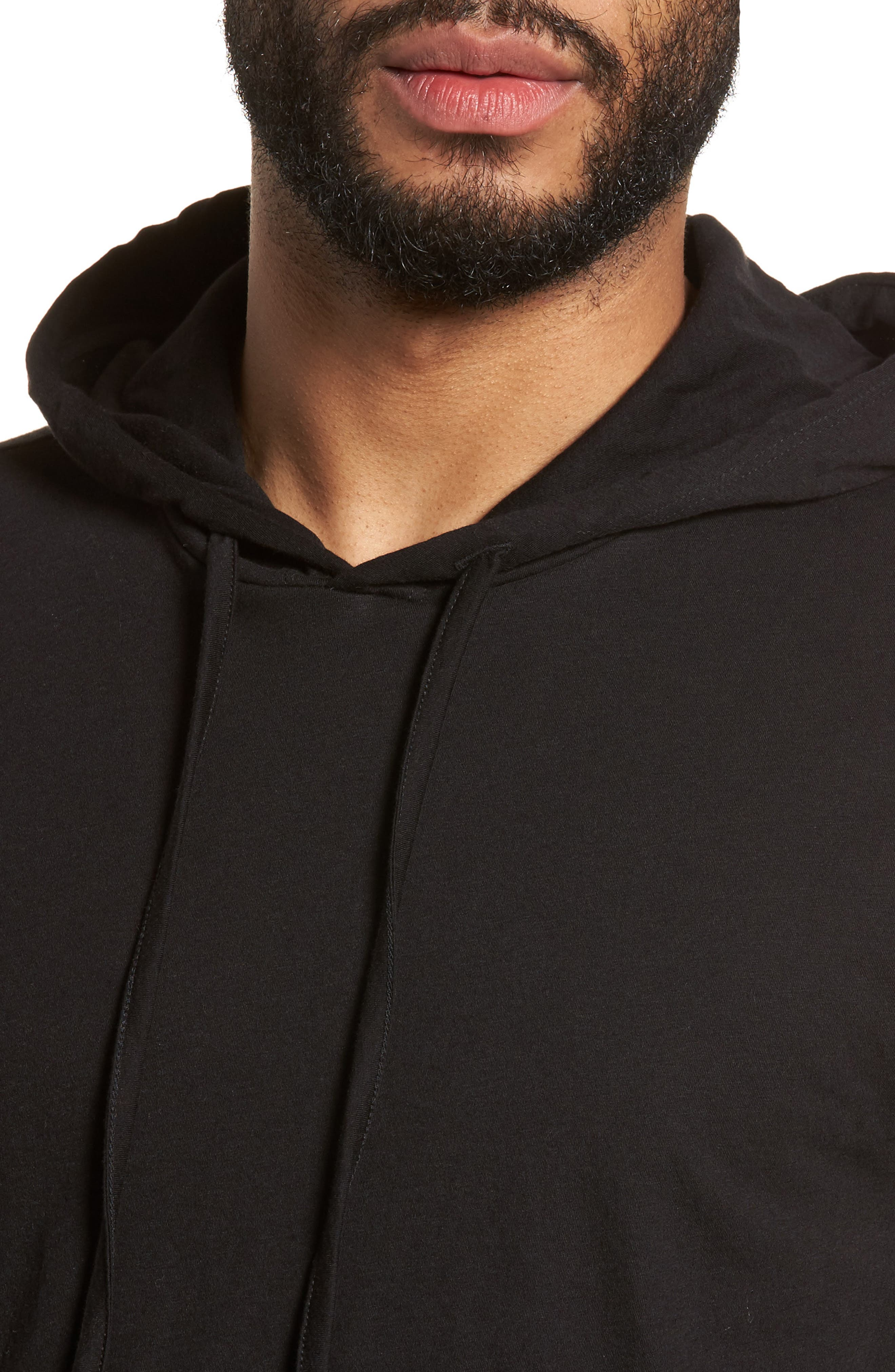 Layered Long Sleeve Pullover Hoodie,                             Alternate thumbnail 4, color,                             001