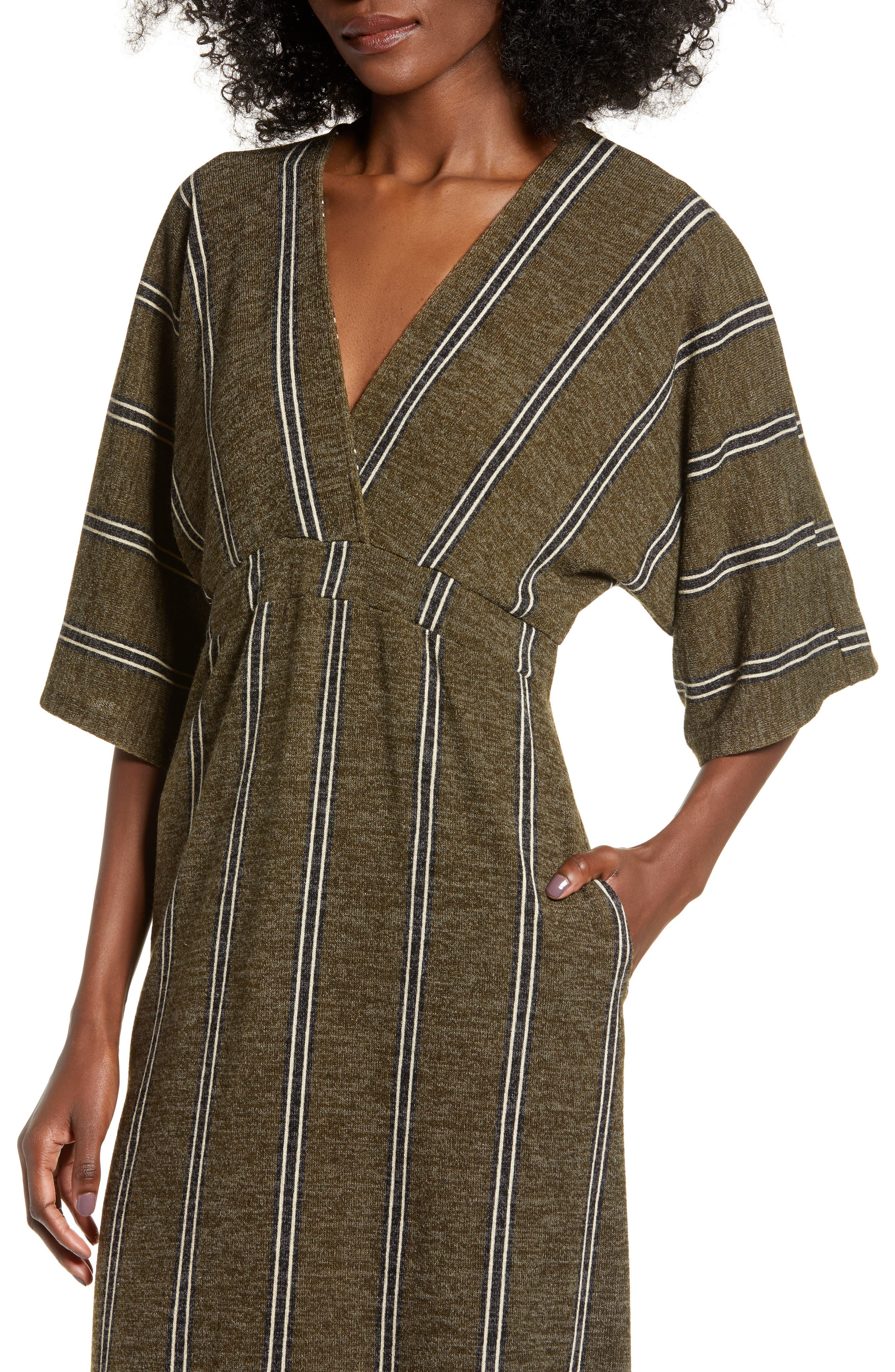 ALL IN FAVOR,                             Surplus Midi Dress,                             Alternate thumbnail 4, color,                             GREEN STRIPE