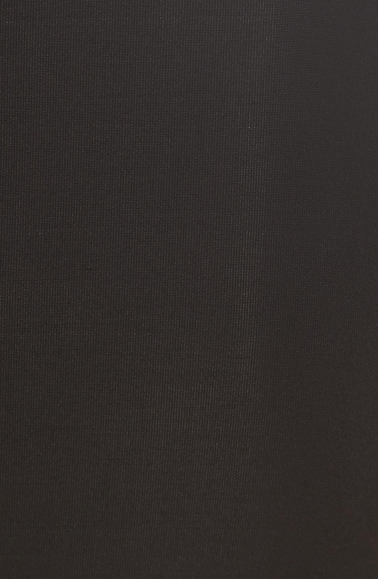 Bondage Jersey Leather Neck Top,                             Alternate thumbnail 5, color,                             001