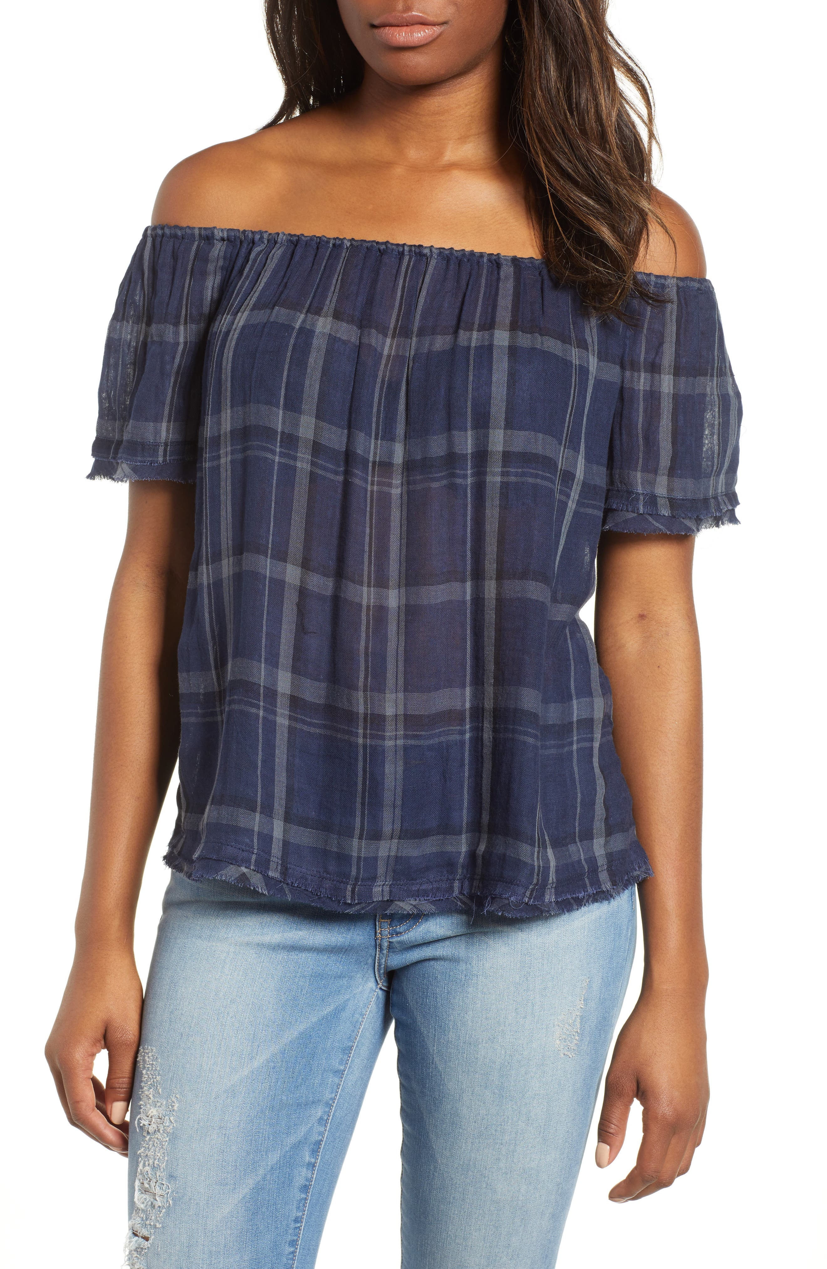 Off Shoulder Plaid Top,                         Main,                         color, 460