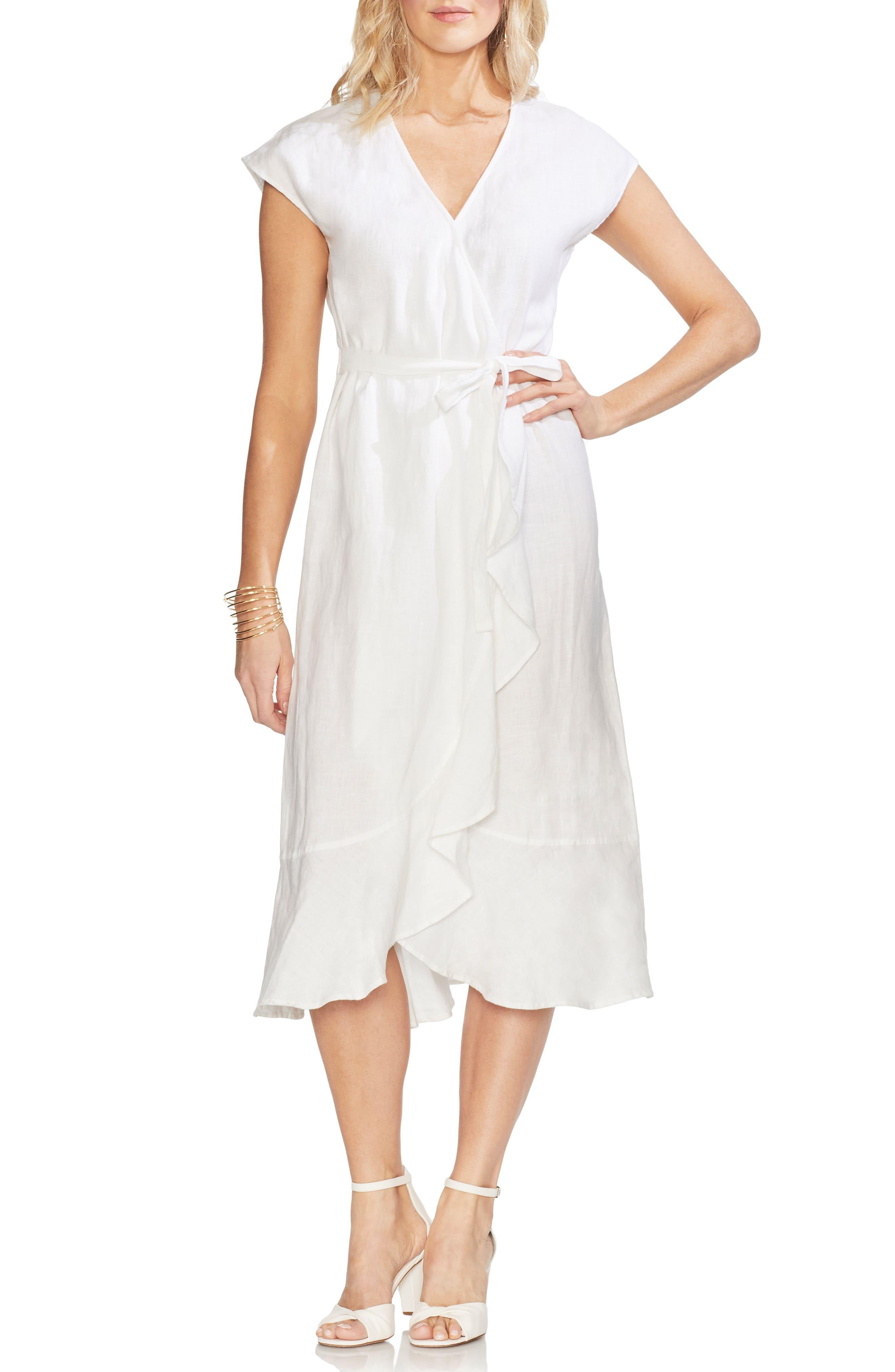 Vince Camuto Faux Wrap Linen Dress, White