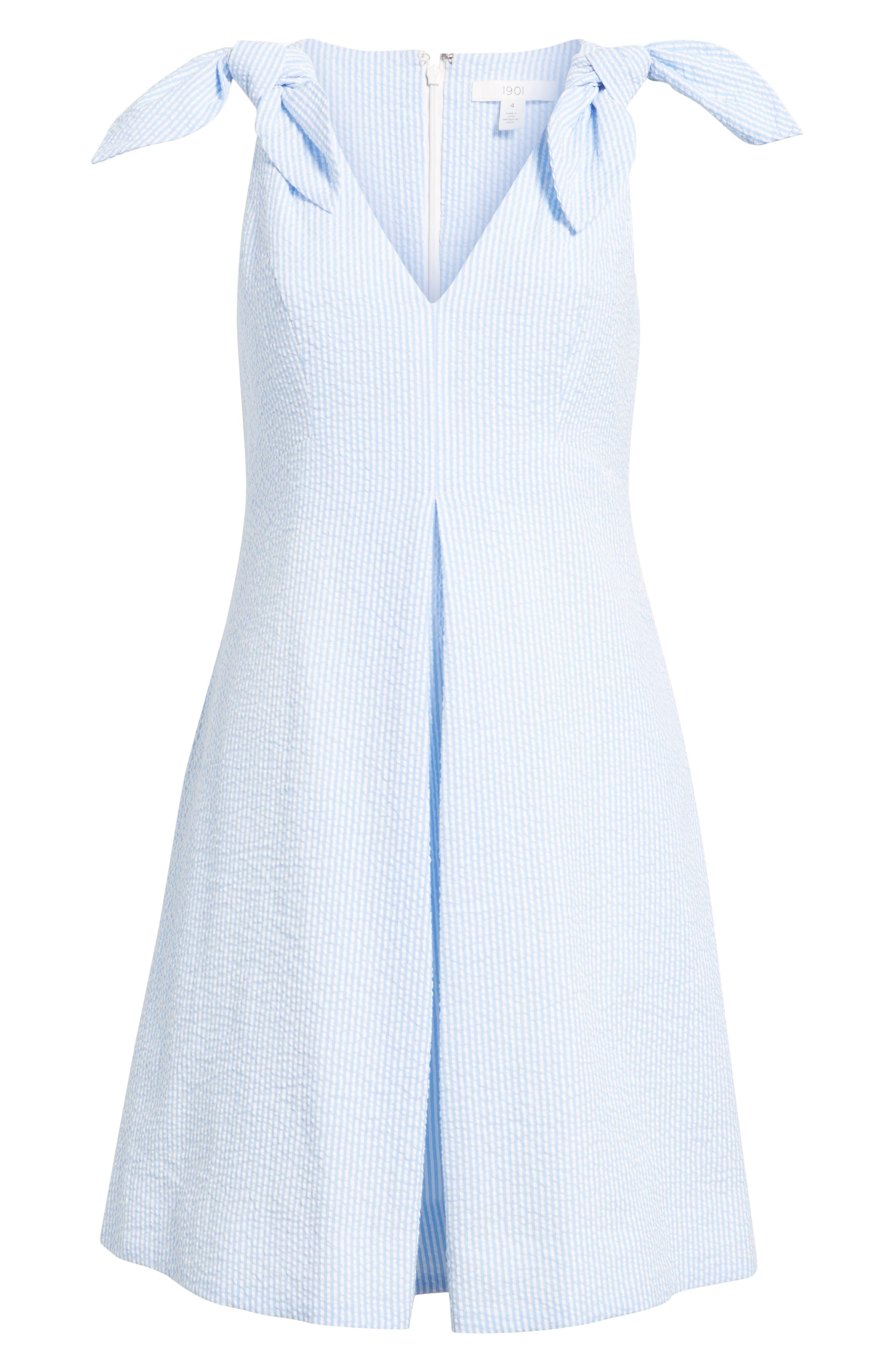 Bow Seersucker Dress,                             Alternate thumbnail 6, color,                             420